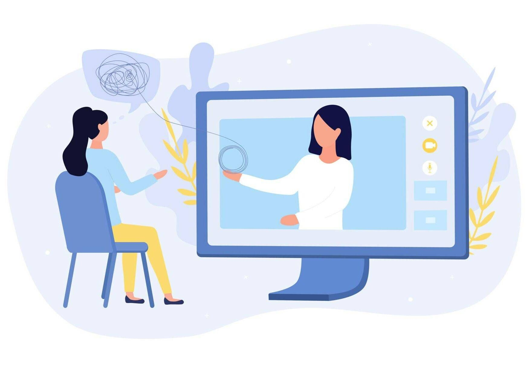 Online medical or psychological counselling with a woman sitting in front of a computer talking to a virtual doctor, colored vector illustration, asian american mental health, rewire