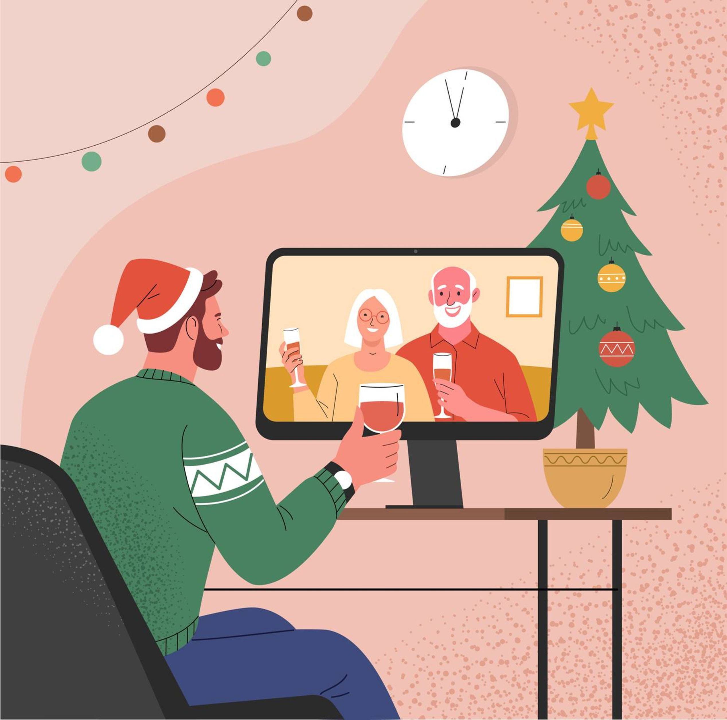 Illustration of virtual Christmas celebration with man talking with parents on computer, surrounded by Christmas decorations, holiday, rewire