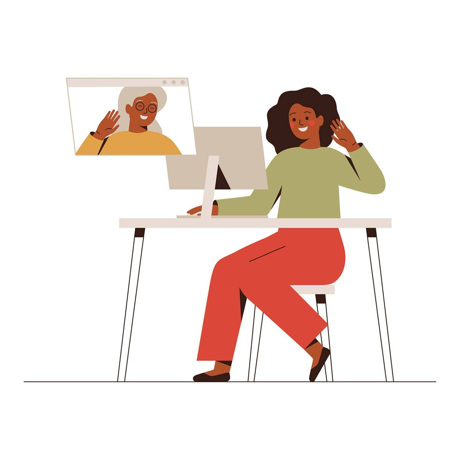 Illustration of a young black woman having a video call with her mature mother, Rewire, holiday depression