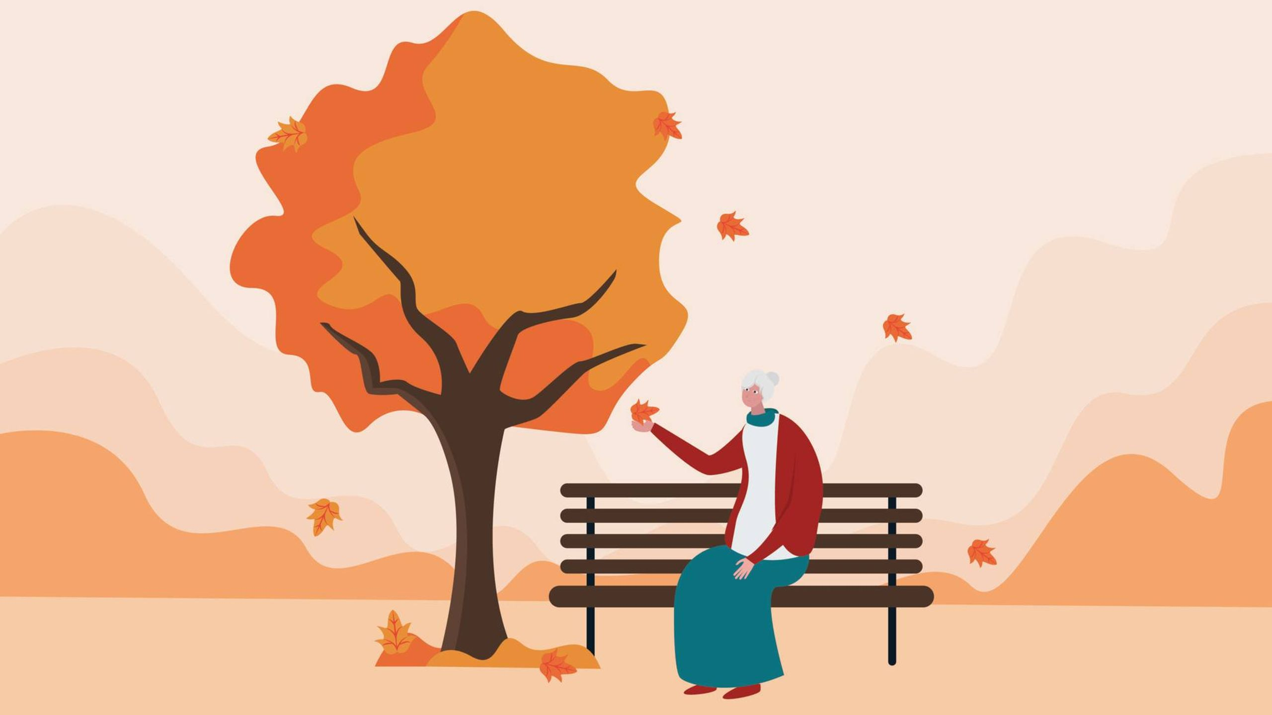 Illustration of an older woman holding the falling leaf enjoying autumn breeze sitting on the park, Rewire, holiday depression