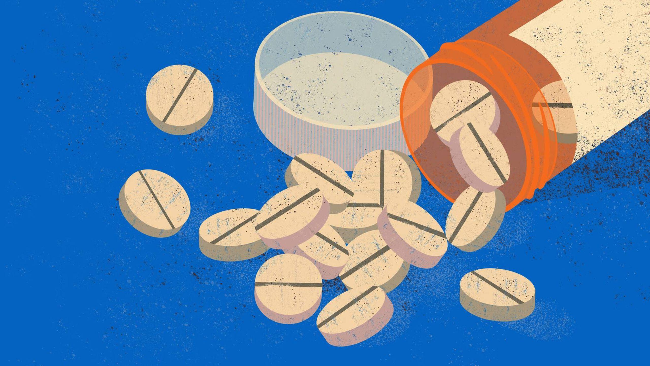 Illustration of orange opioid pill bottle, Rewire, Opioid Addiction