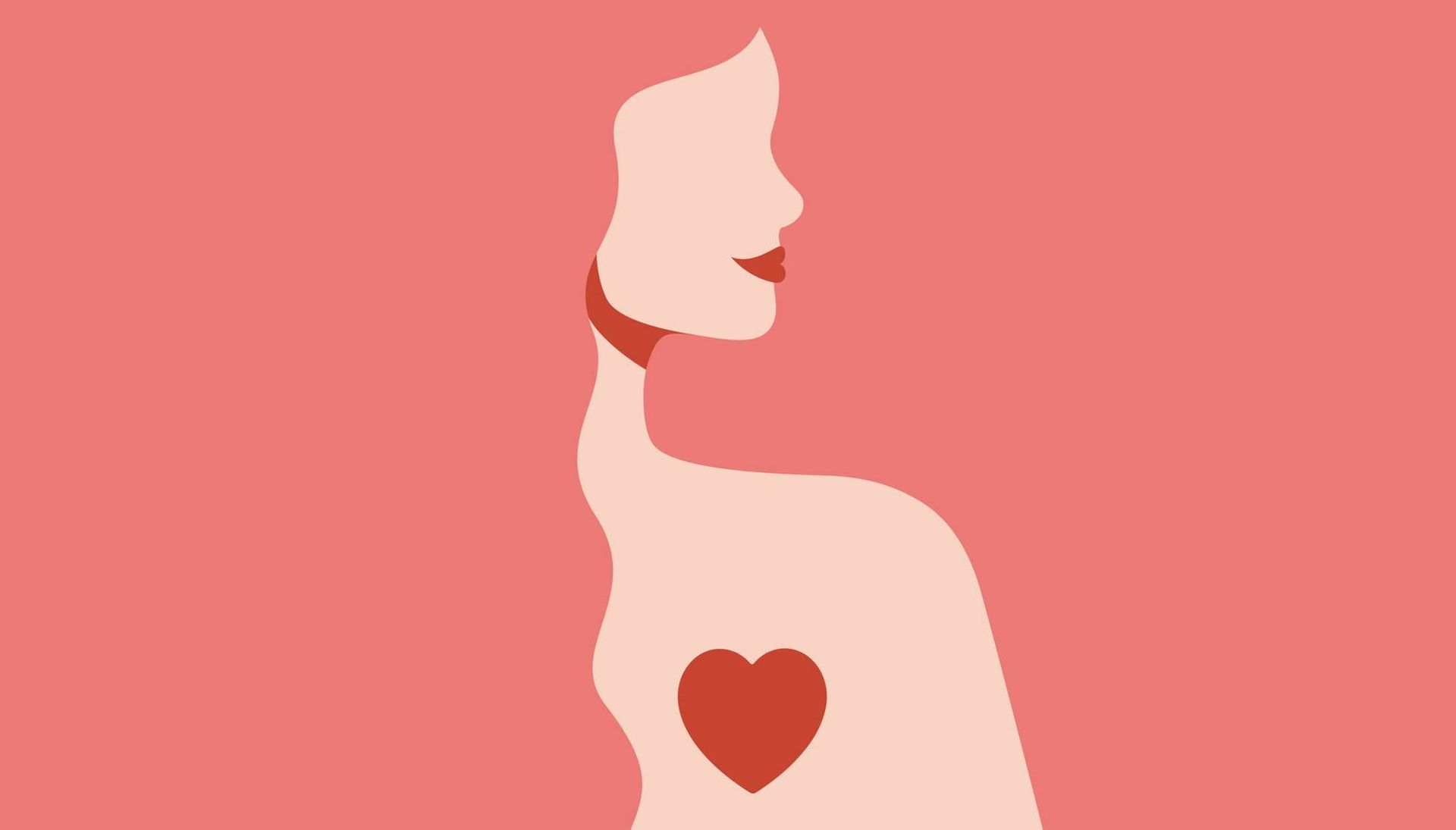 Silhouette illustration of woman with love in her heart