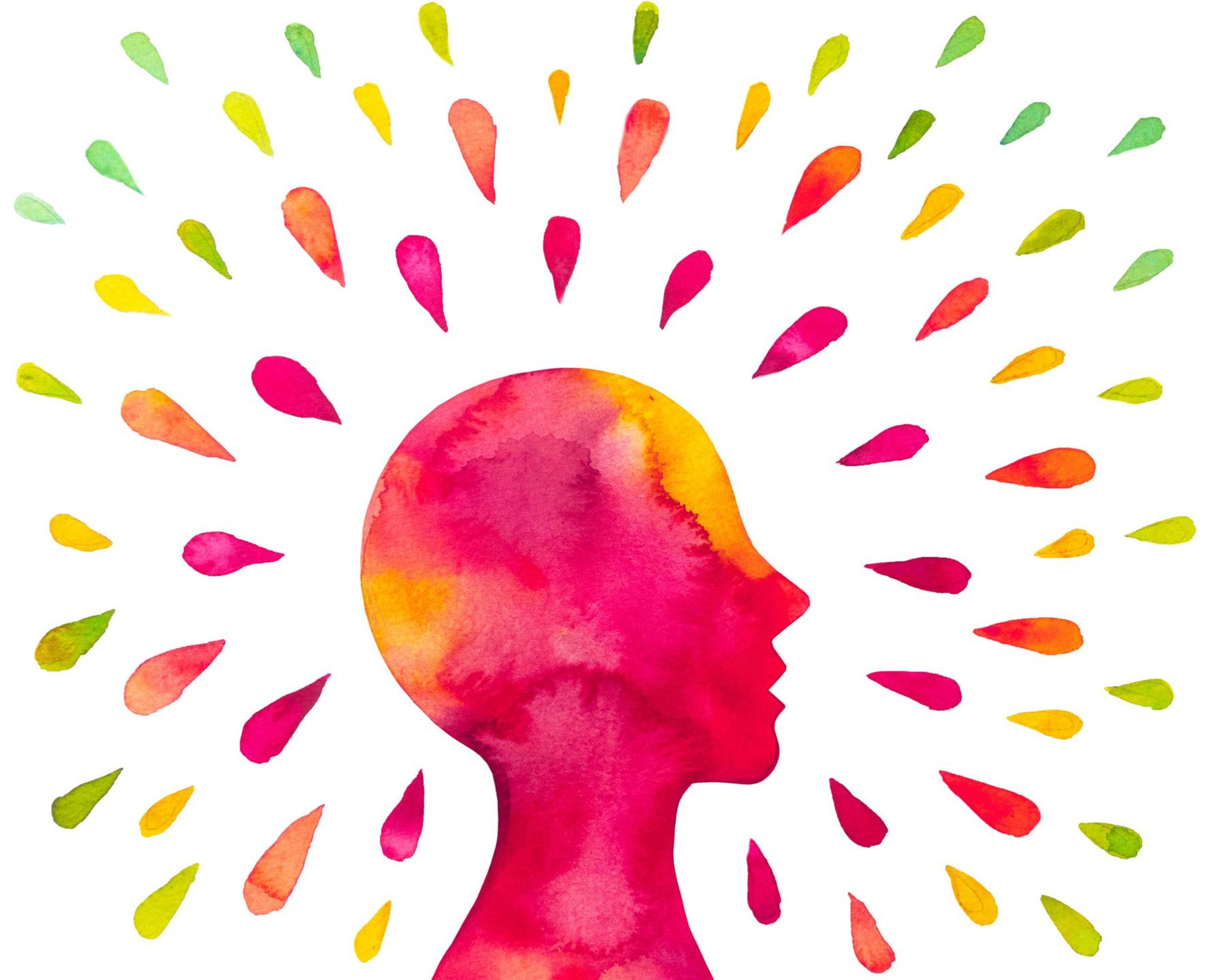Illustration of a head and neck surrounded by red, orange, yellow and green drops, black youth, mental health, rewire