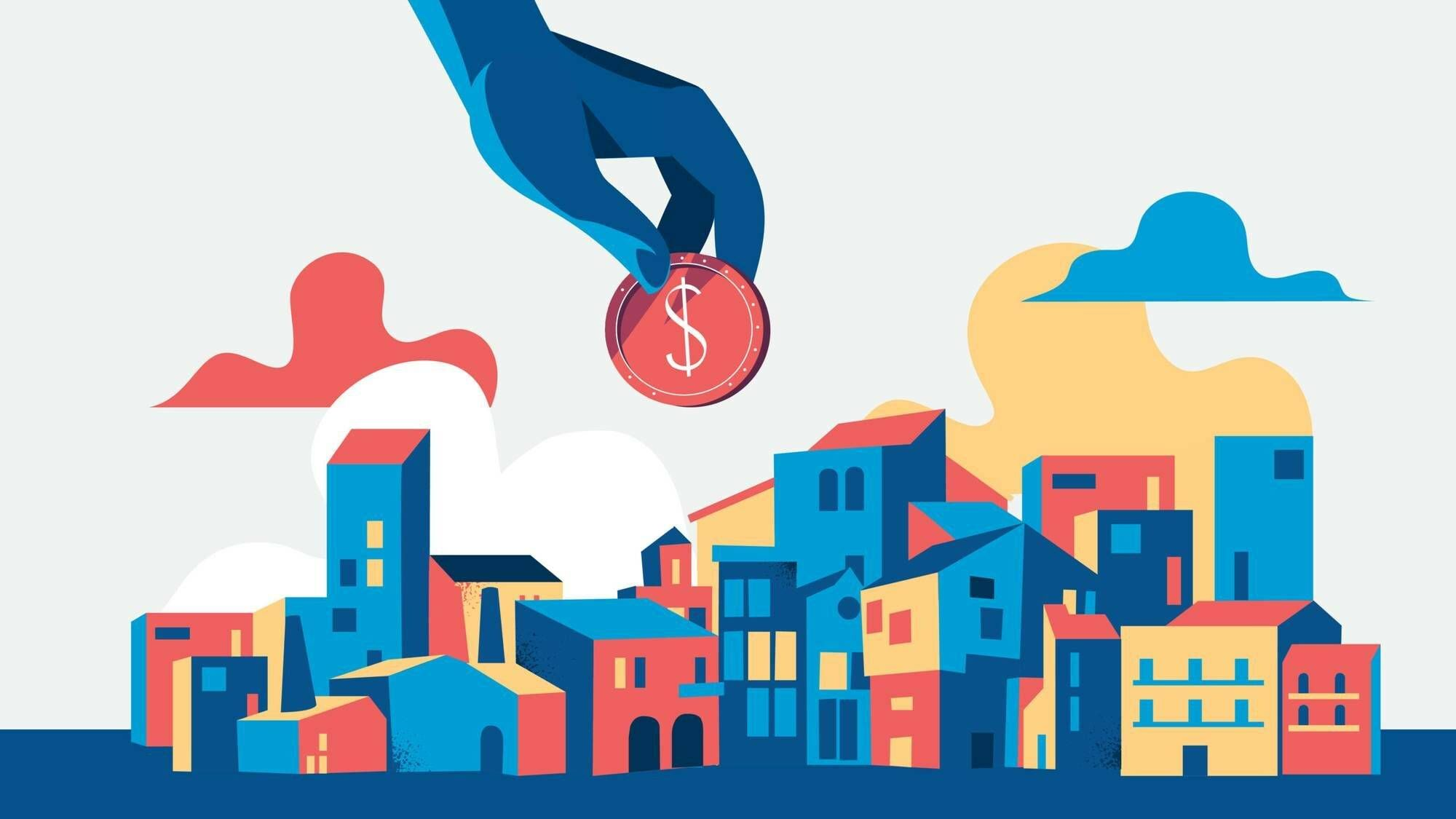 Illustration of hand reaching down from sky with a coin to deposit into a city. concept of investing in urban development. Rewire PBS Money Banking