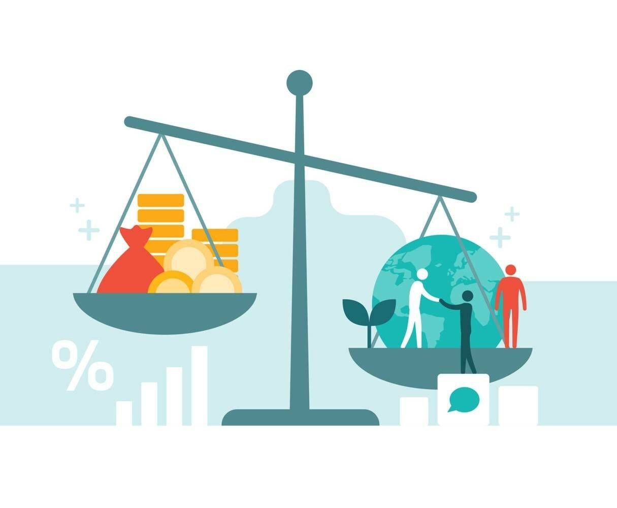 Illustration of a scale with money on one side and humans and a globe on the other. Rewire PBS Money Banking