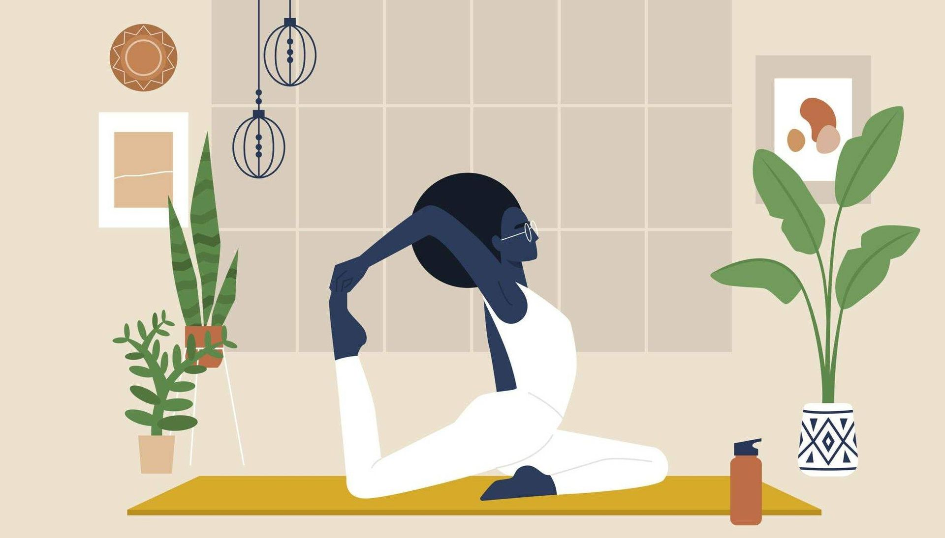 Illustration of woman doing yoga inside, surrounded by housplants