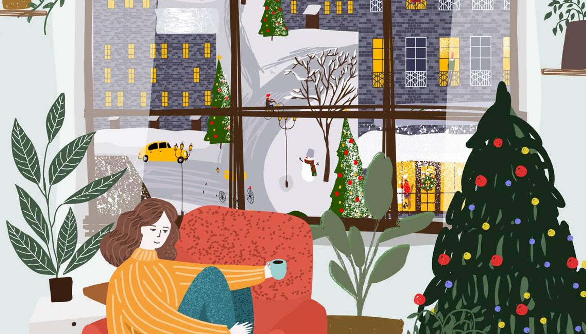 Illustration of woman sitting on red chair holding a cup of coffee and relaxing in a festively decorated apartment