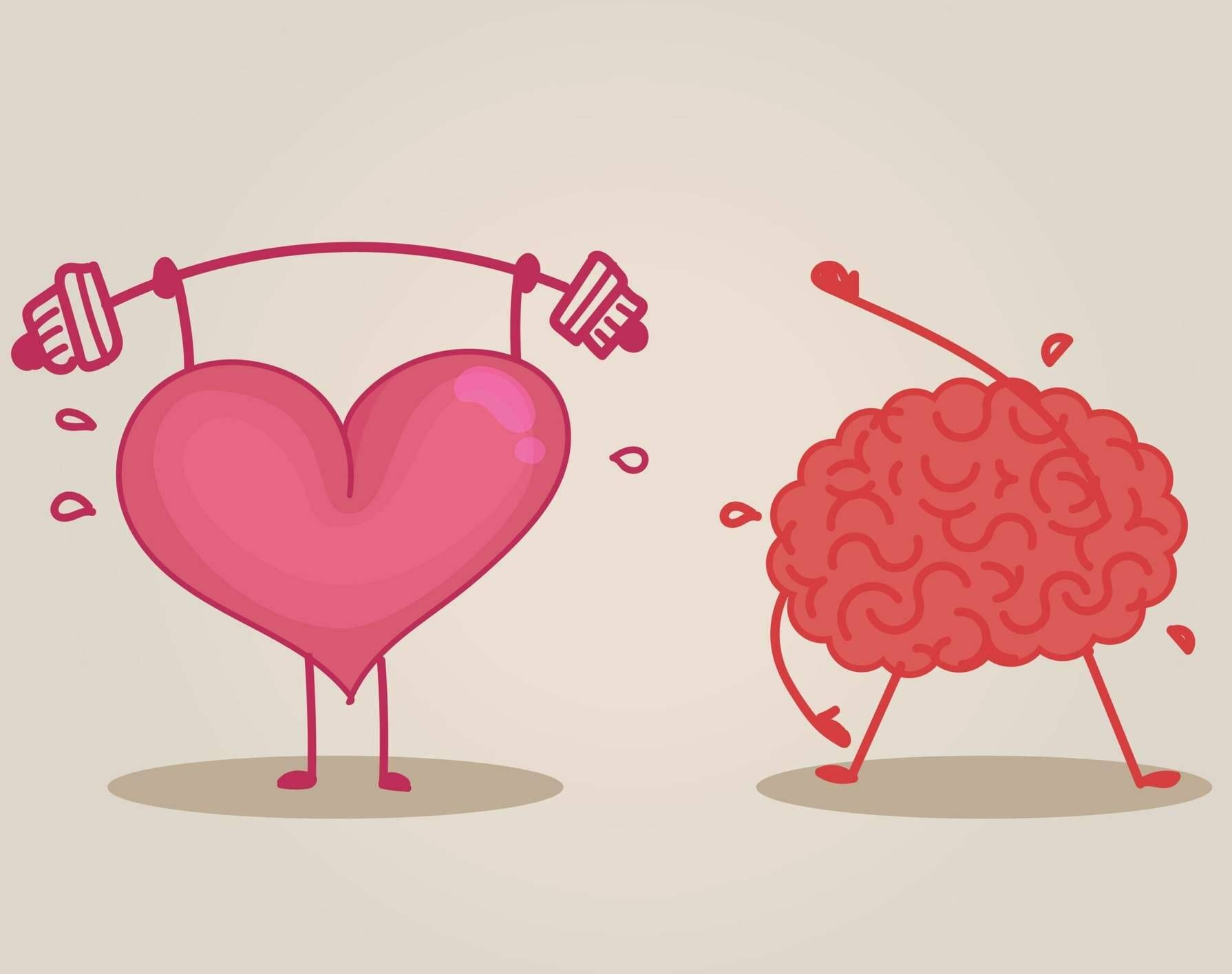 Illustration of heart and brain doing exercise and sweating. Rewire PBS Love Healthy Boundaries
