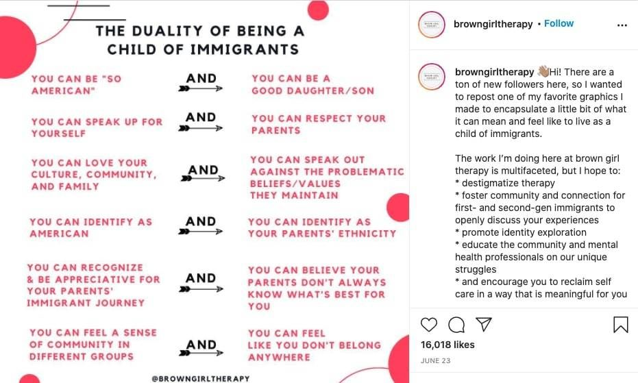 Brown Girl Therapy instagram post