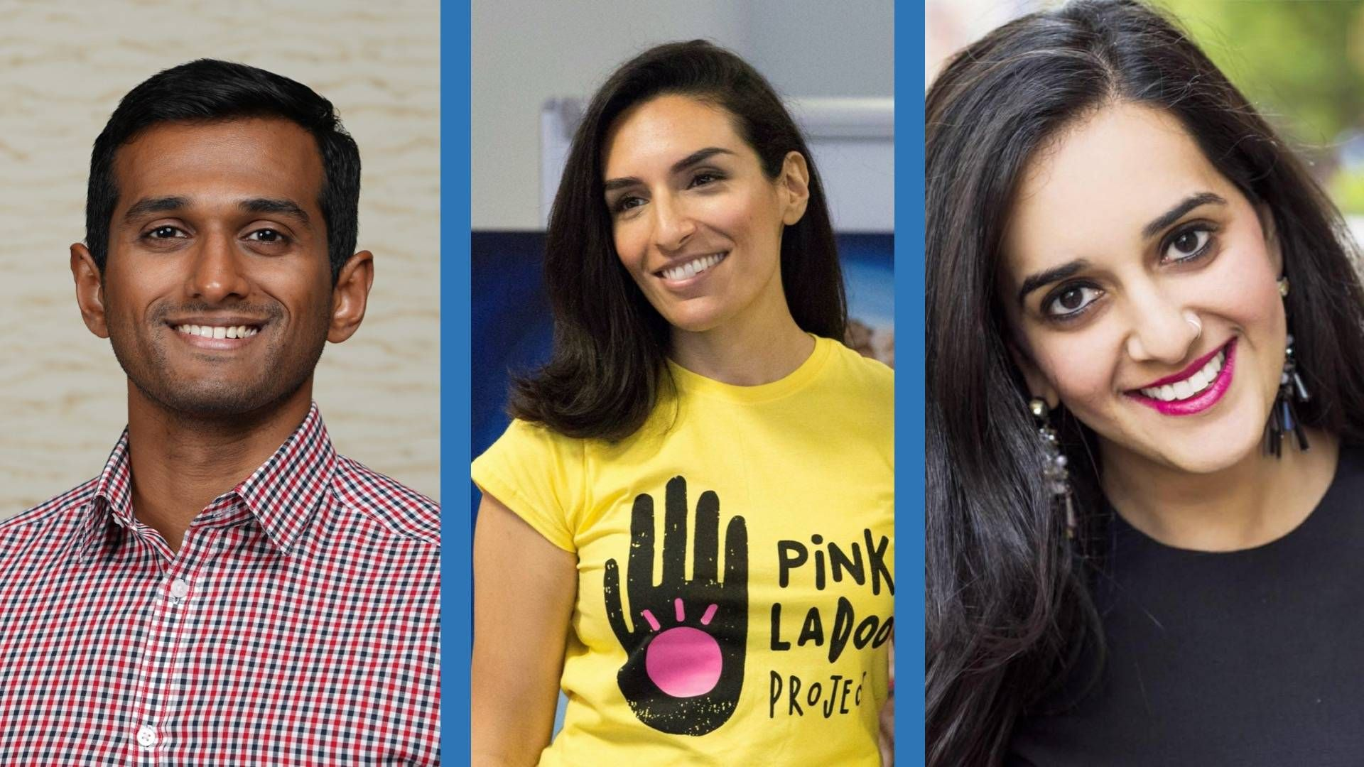 Three portraits of a man and two women of South Asian descent