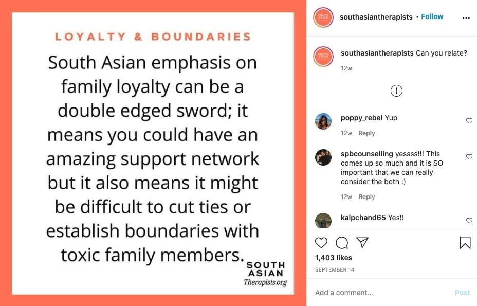 South Asian Therapists instagram post