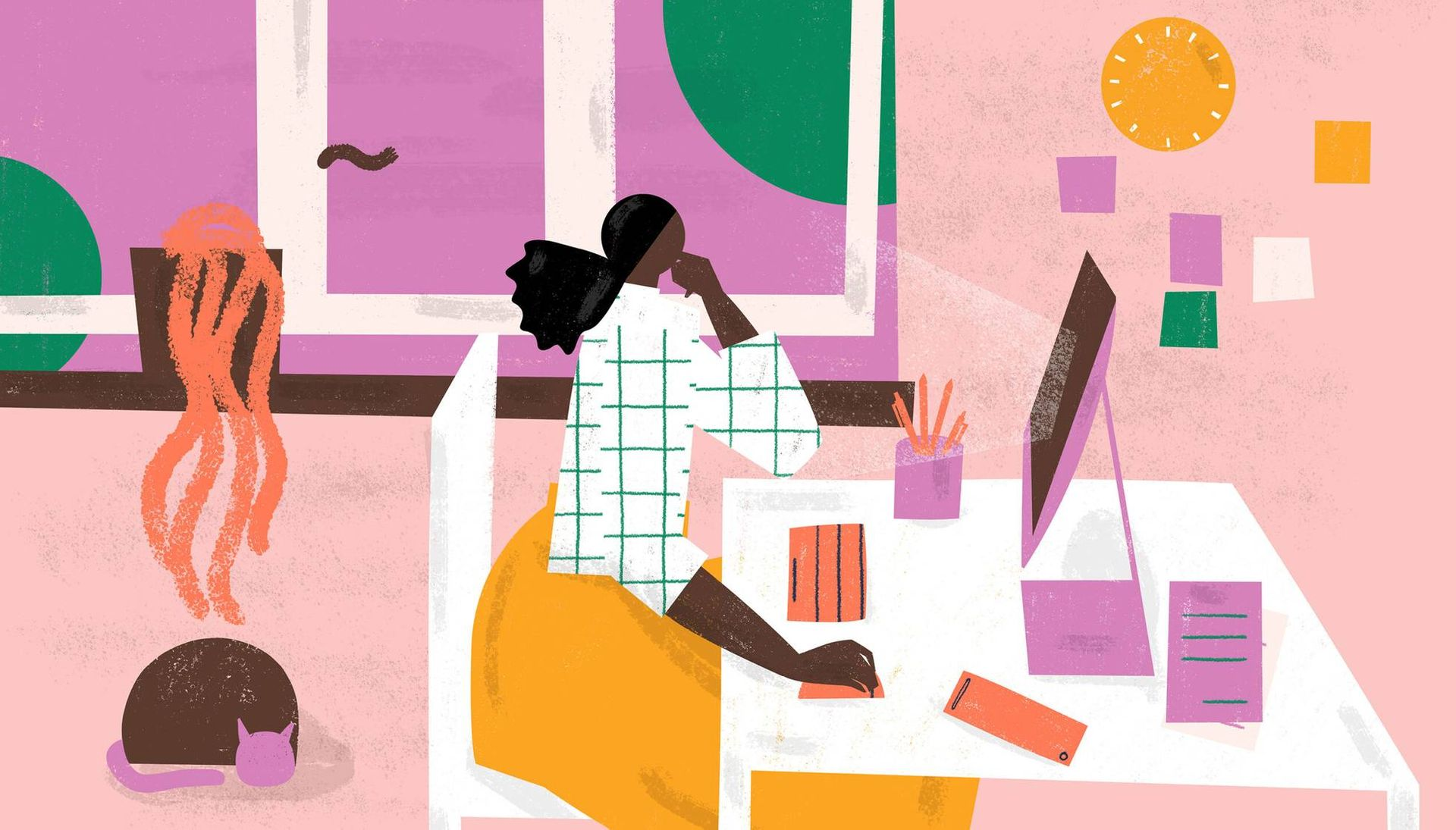 Illustration of a young woman sitting at her home desk. PBS Rewire Take Care
