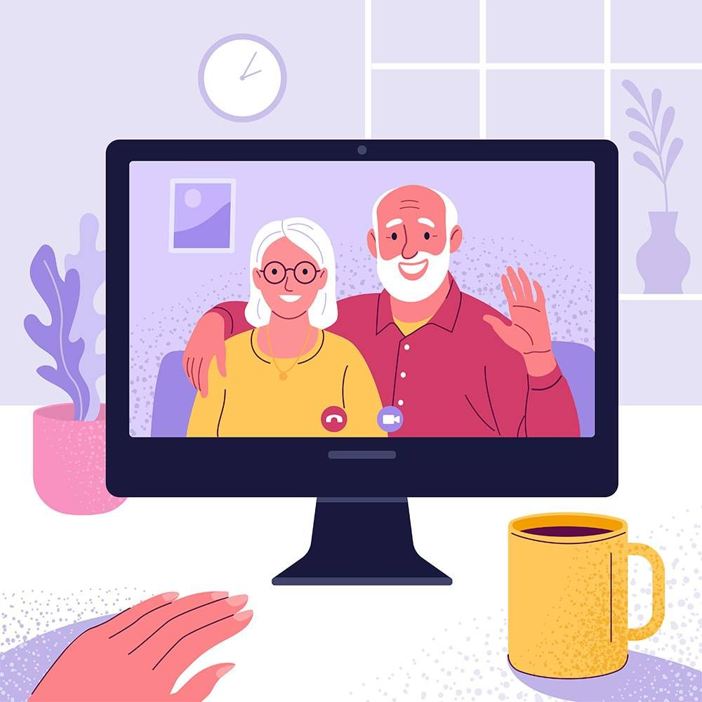 Illustration of grandparents talking on a Zoom call. Rewire PBS Love Coming out to Grandparents
