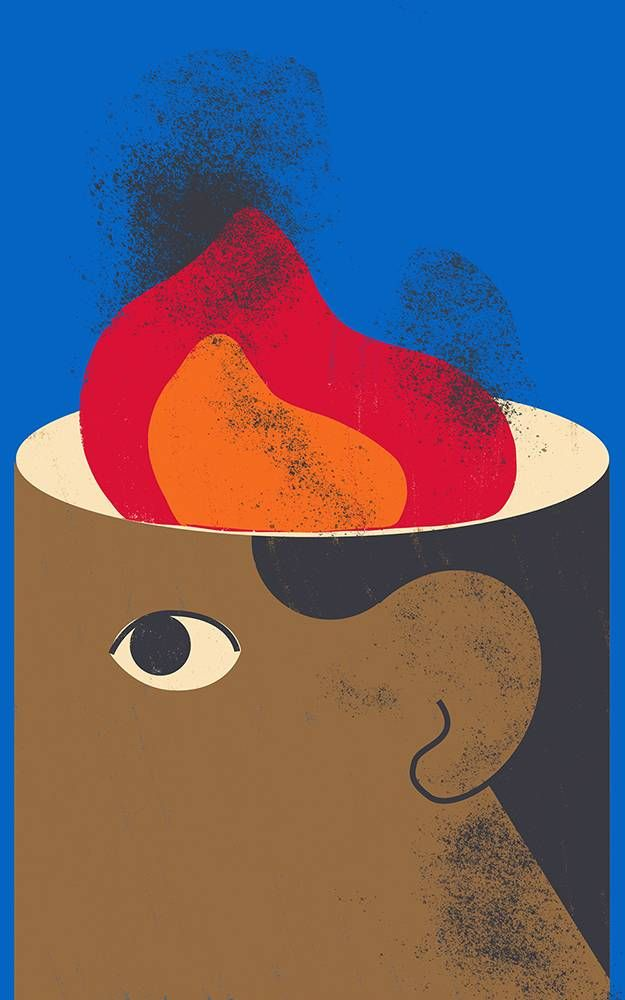 Illustration of person with flames on their head. Rewire PBS Health mental health
