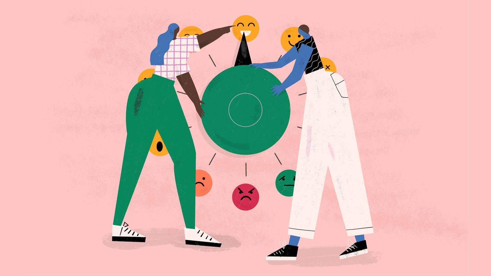 Illustration of two people turning a dial of emotions. Rewire PBS Health mental health