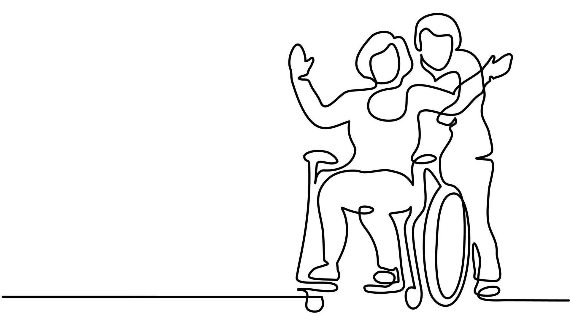 Illustration of man pushing woman in a wheelchair, disabled partner, ableist, relationship, rewire