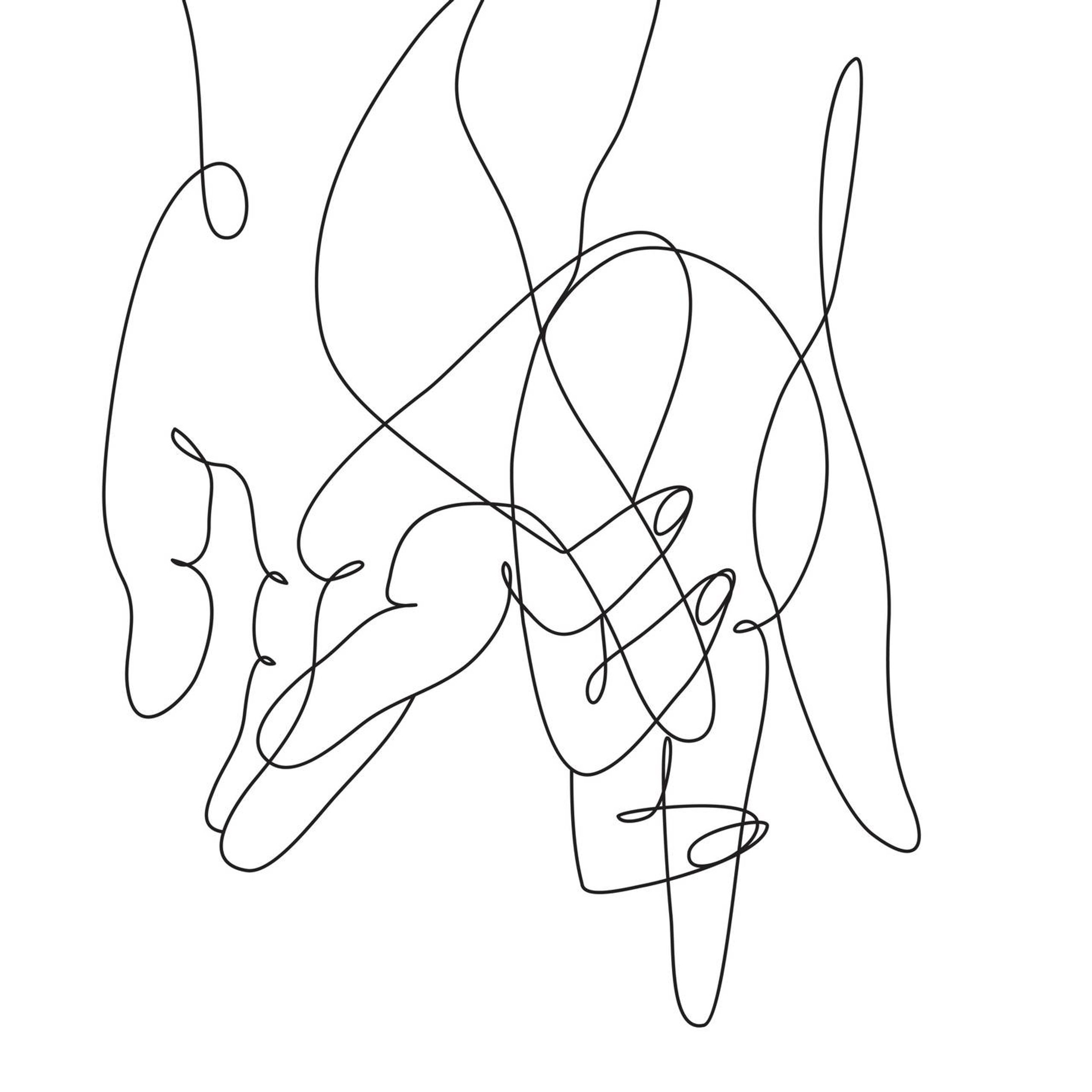 Line drawing illustration of two hands intertwined, non-monogamous, Rewire