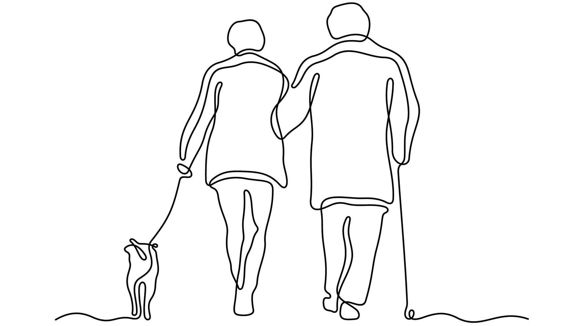 Illustration of elderly couple walking a dog, childless adult, Rewire, future without kids