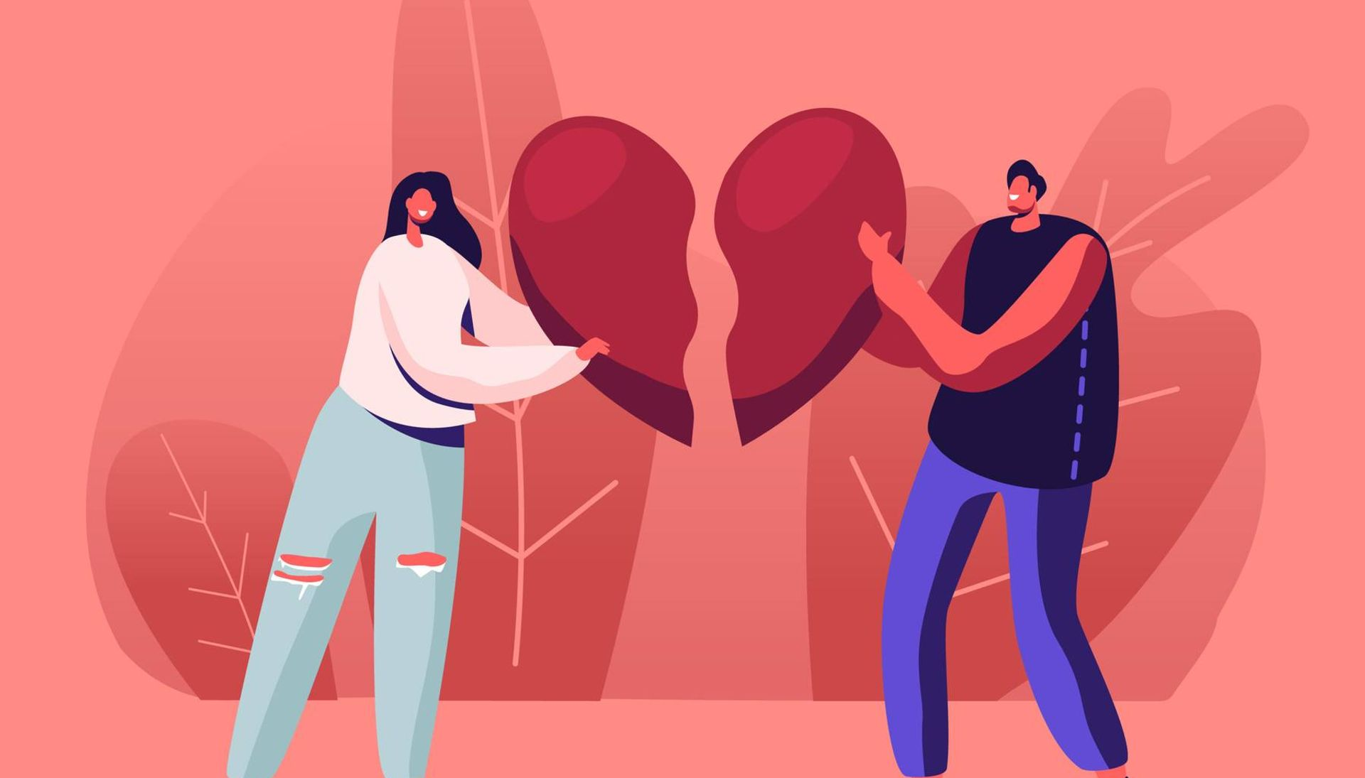 Illustration of a couple breaking up and each holding half of a broken heart