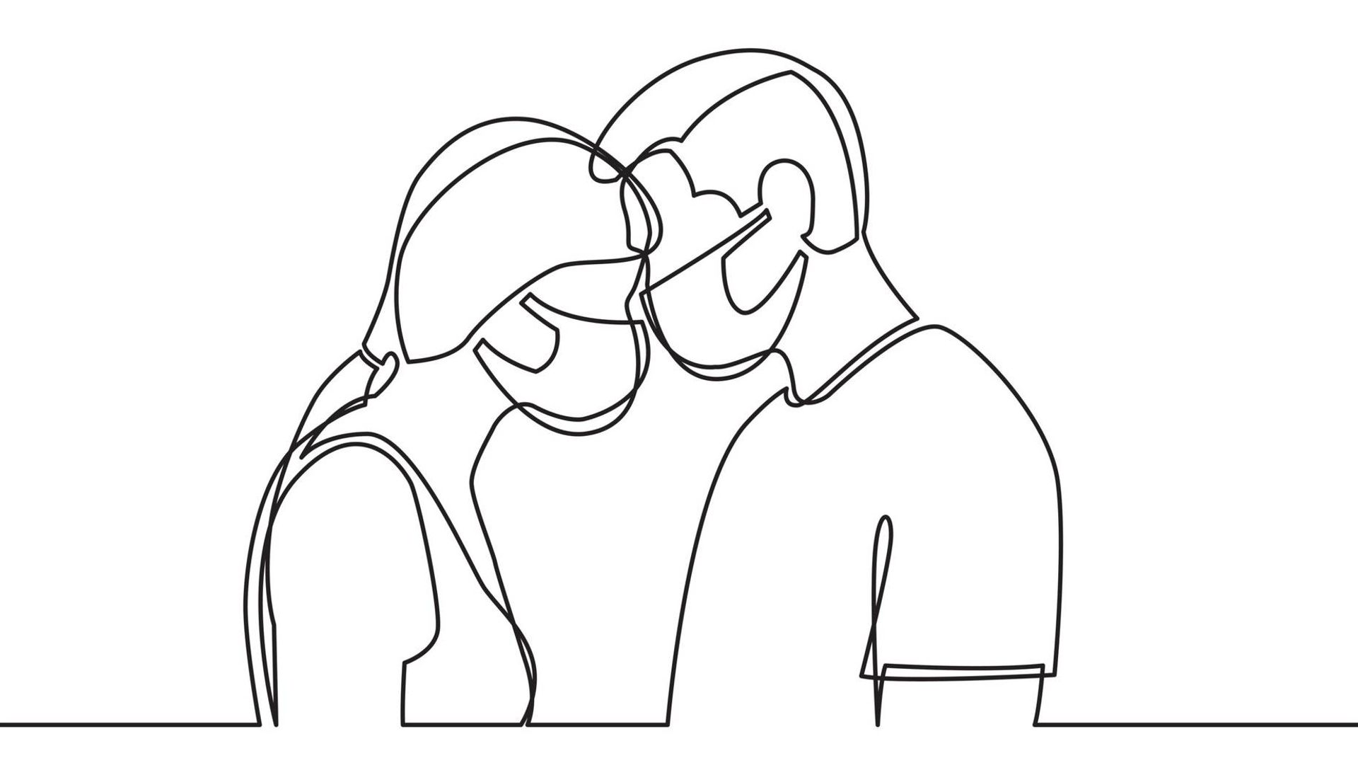 Line drawing illustration of a couple wearing masks and touching their foreheads together