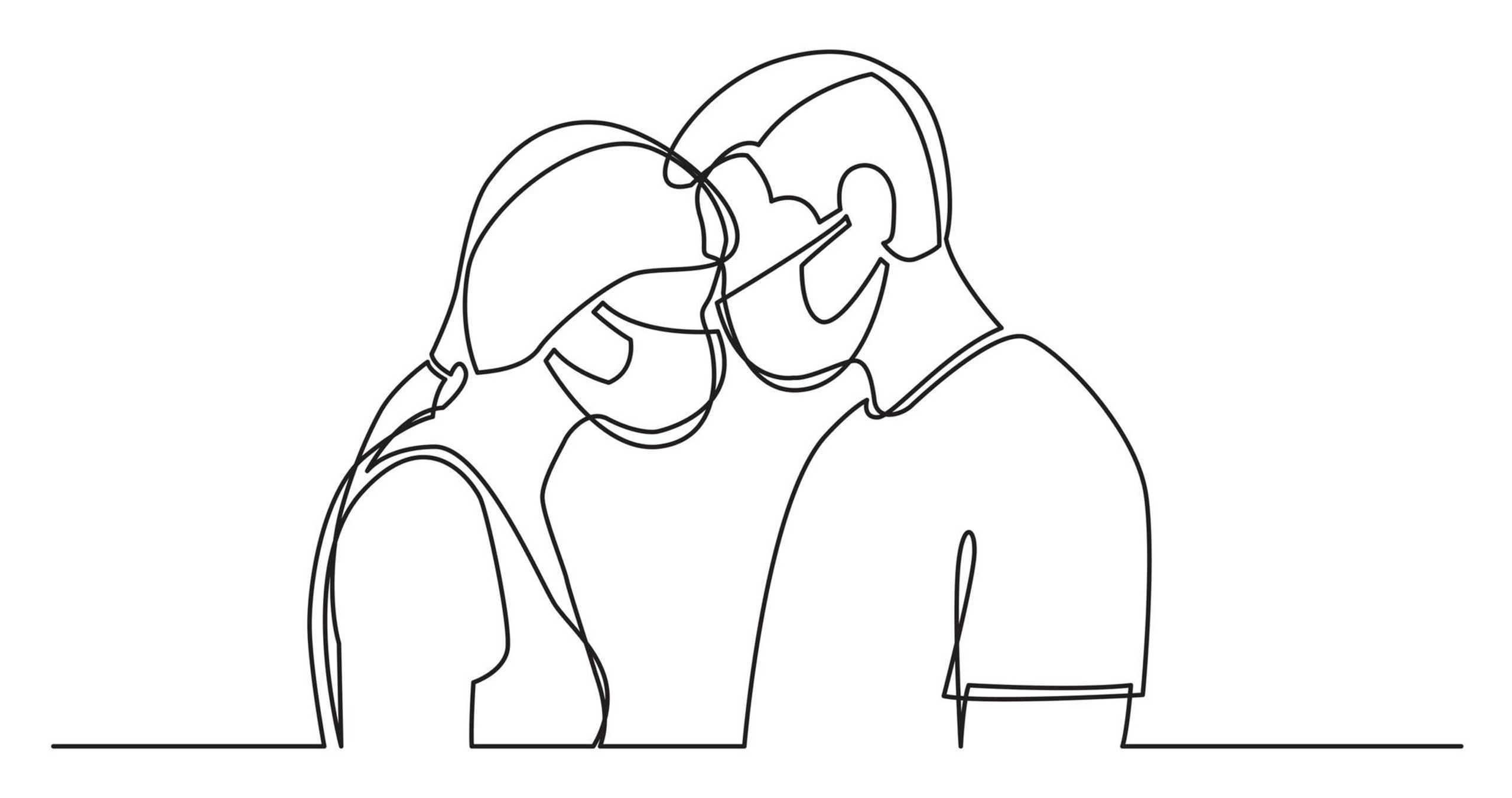 Line drawing illustration of a couple wearing masks and touching their foreheads together, non-monogamous, Rewire