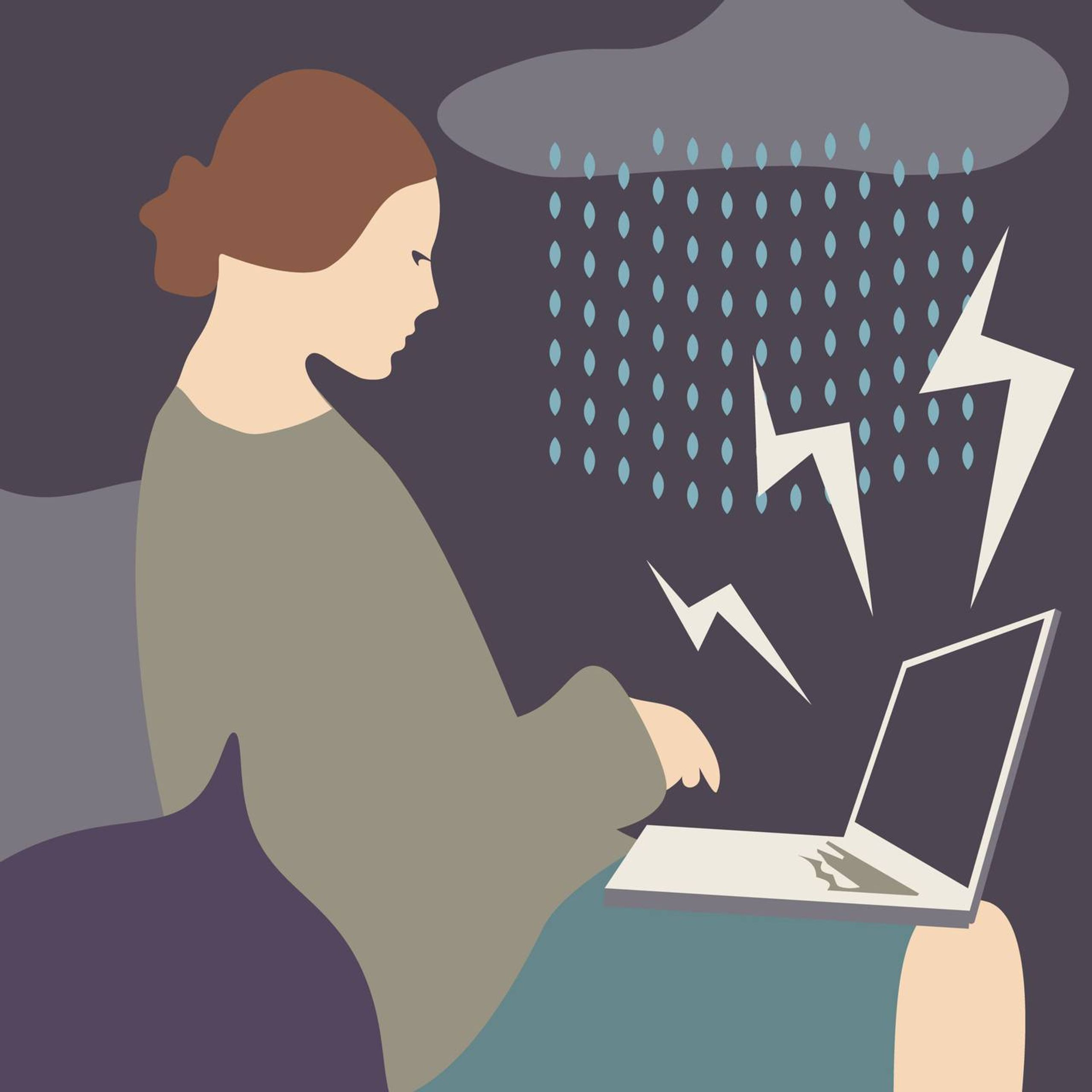 Illustration of woman on laptop with rain and lightning striking the laptop. REWIRE PBS our future media consumption, Rewire, media diet