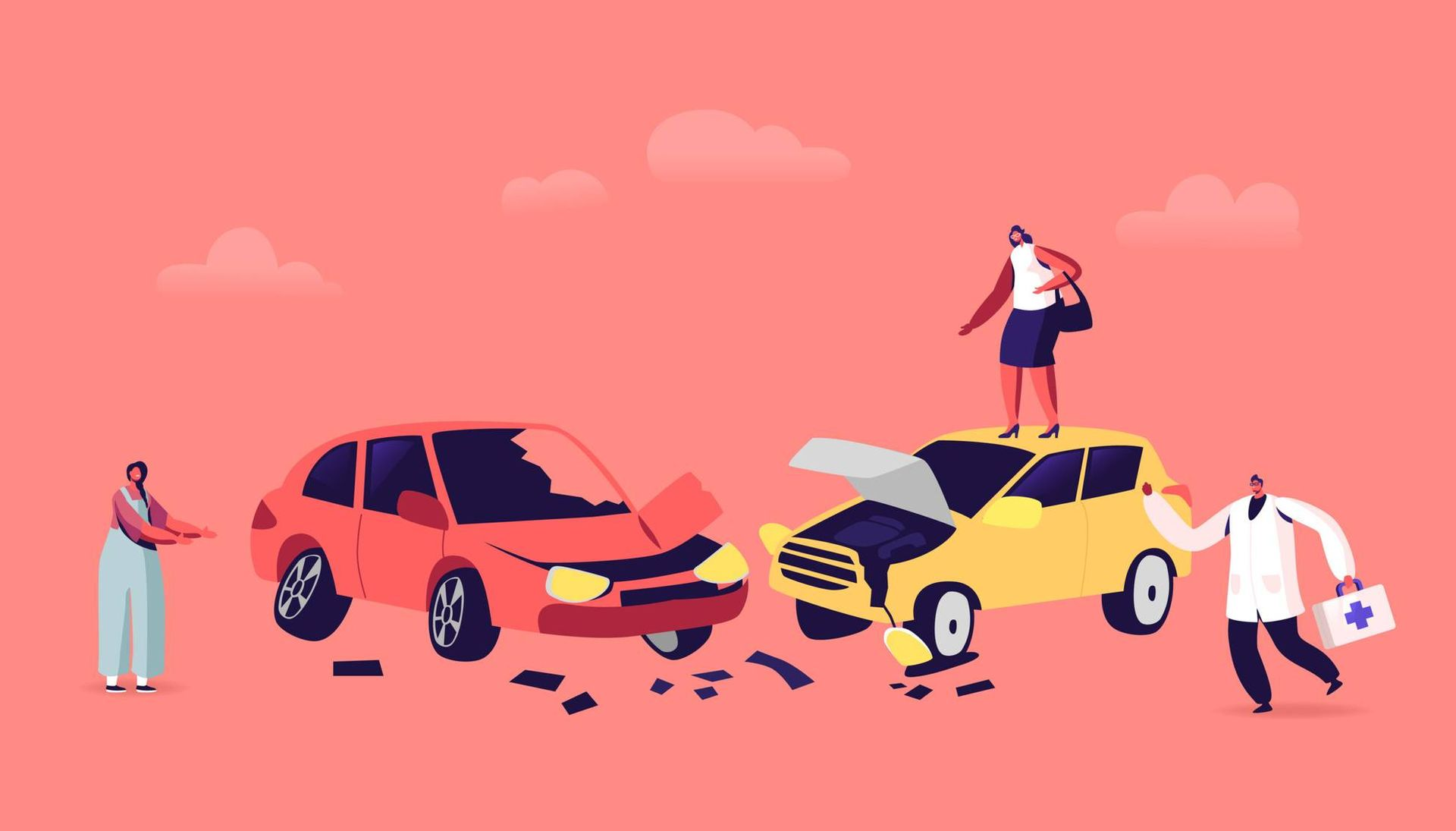 Illustration of a car accident with two drivers arguing about their damaged cars and a doctor running to the scene