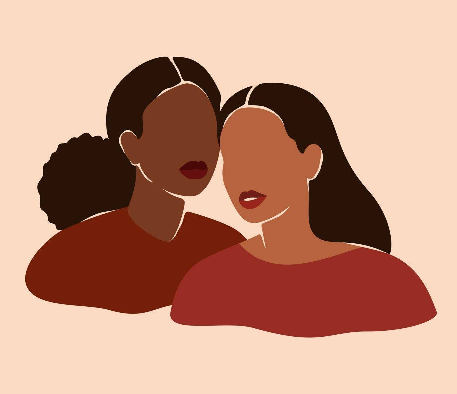 Illustration of two women standing next to each other, friends break up, Rewire