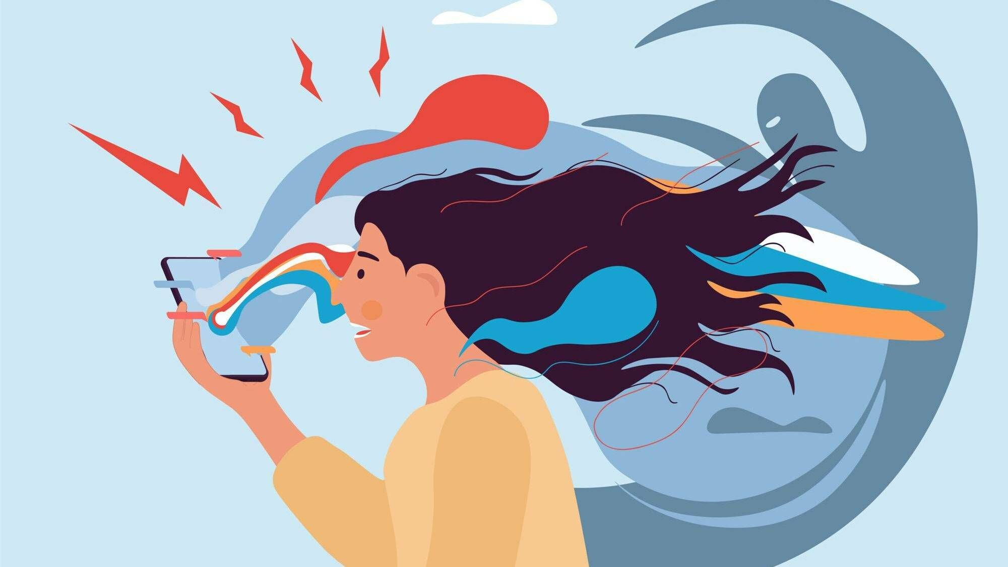 Illustration of anxious woman looking at phone surrounded by negative energy. REWIRE PBS our future media consumption, Rewire, media diet