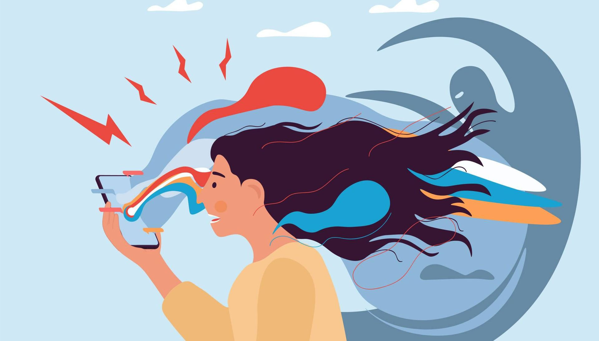 Illustration of anxious woman looking at phone surrounded by negative energy