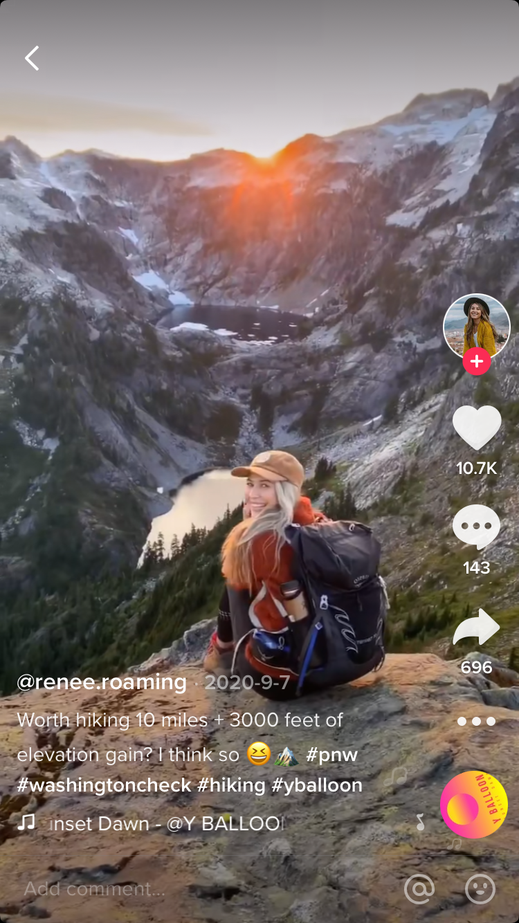tiktok video. rewire pbs living hiking tiktok