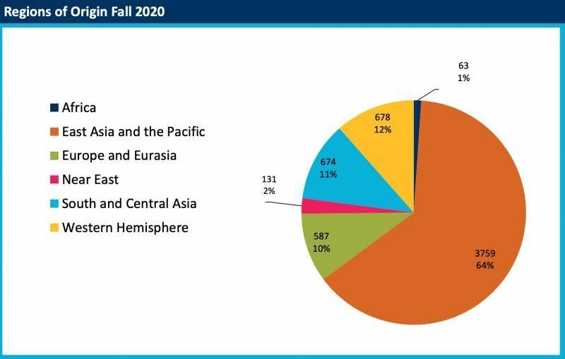 A pie chart that displays UC Berkeley's 2020 international student enrollment by country.