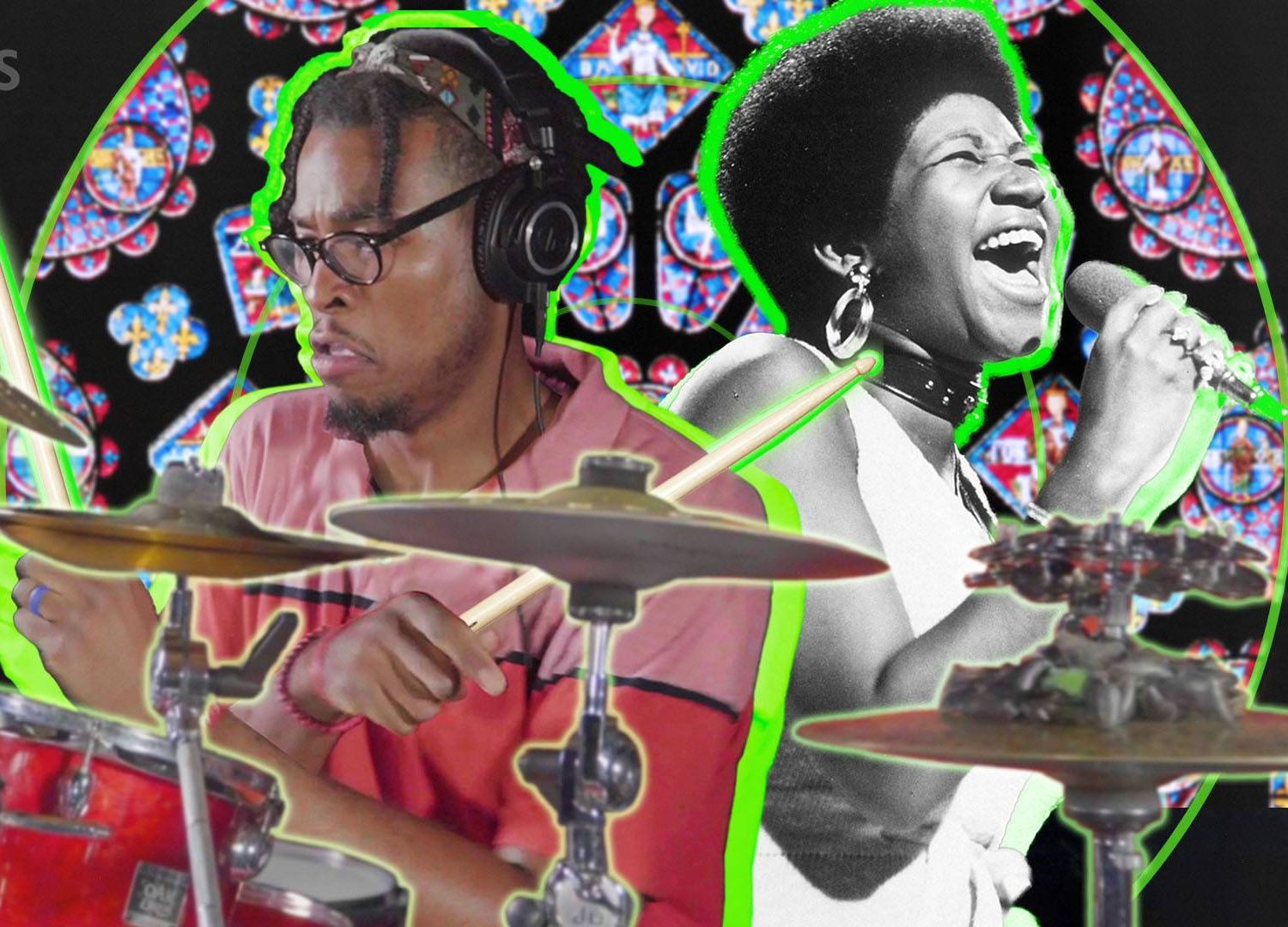 Graphic mosaic combining a color image of a man playing drums and a black and white image of Aretha Franklin. Rewire PBS Gospel