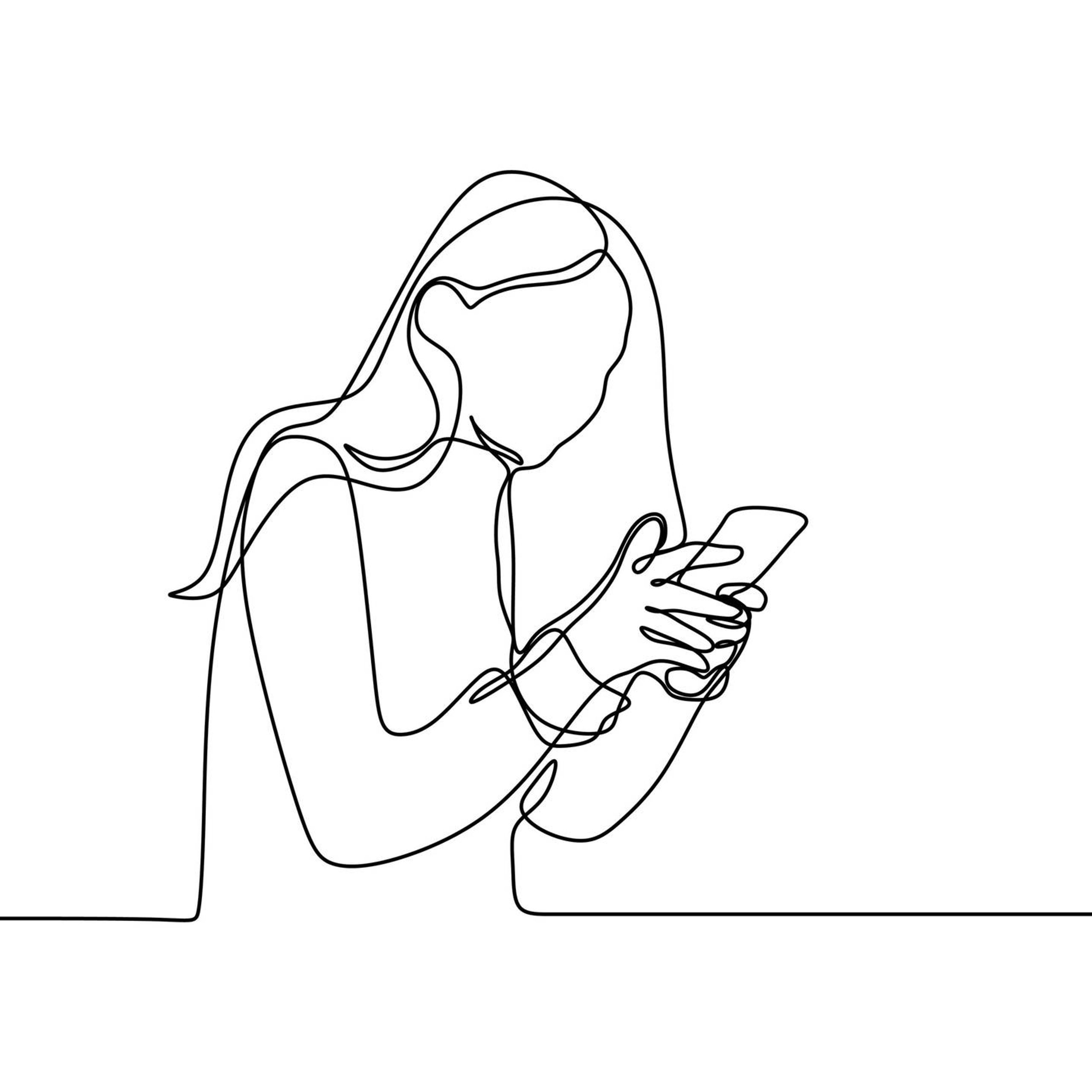 Illustration of a woman looking at her smartphone, queer identity