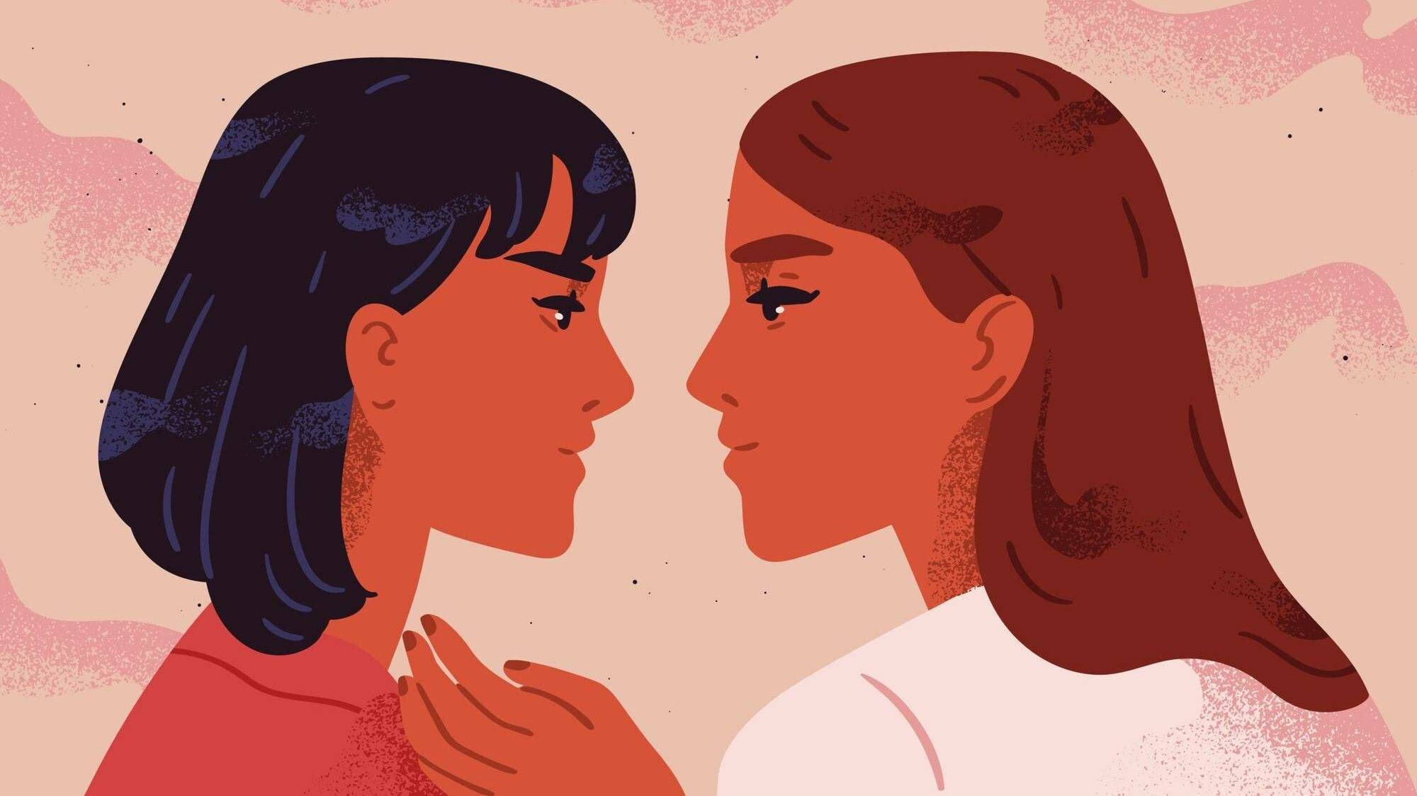 Illustration of two women in near close embrace, staring into each others eyes, queer identity