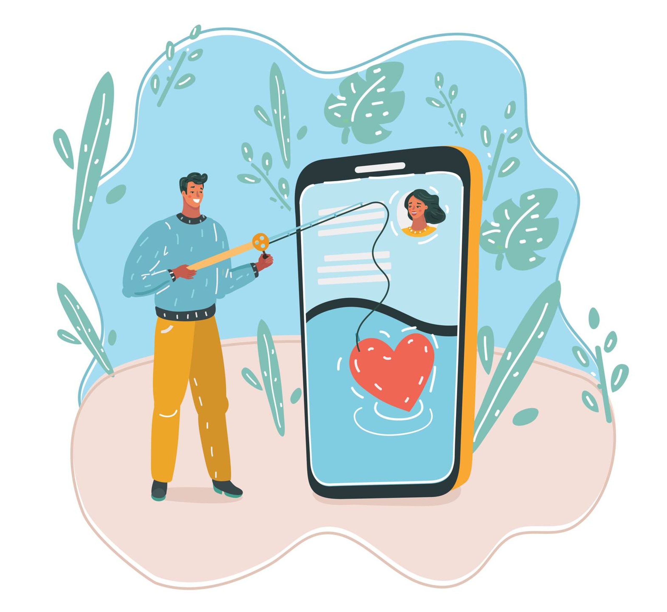 Illustration of man holding a fishing rod and fishing for a heart on a large smartphone displaying a dating app profile
