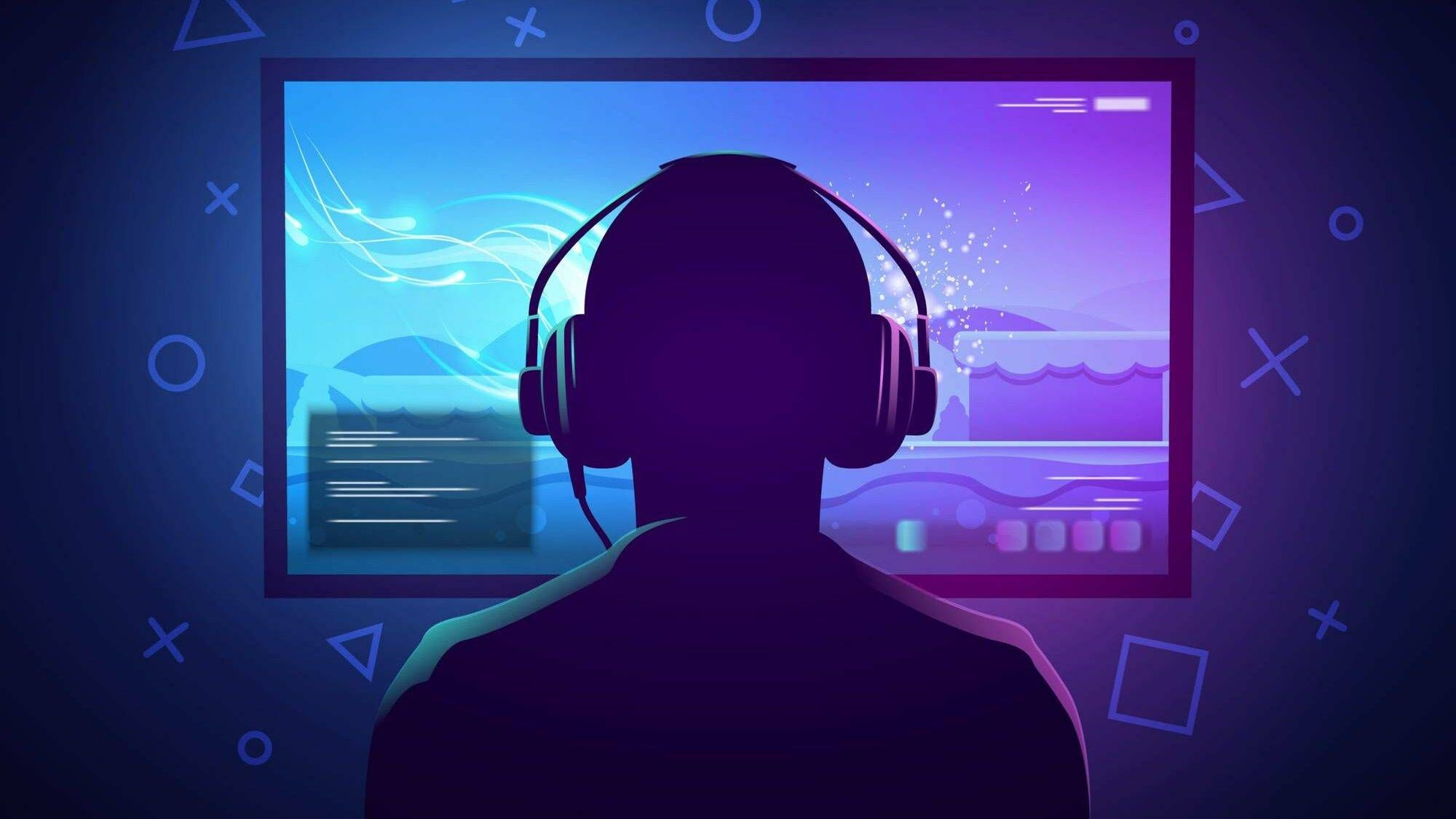 Illustration of video game player sitting in front of a screen, wearing headphones, video games, Rewire