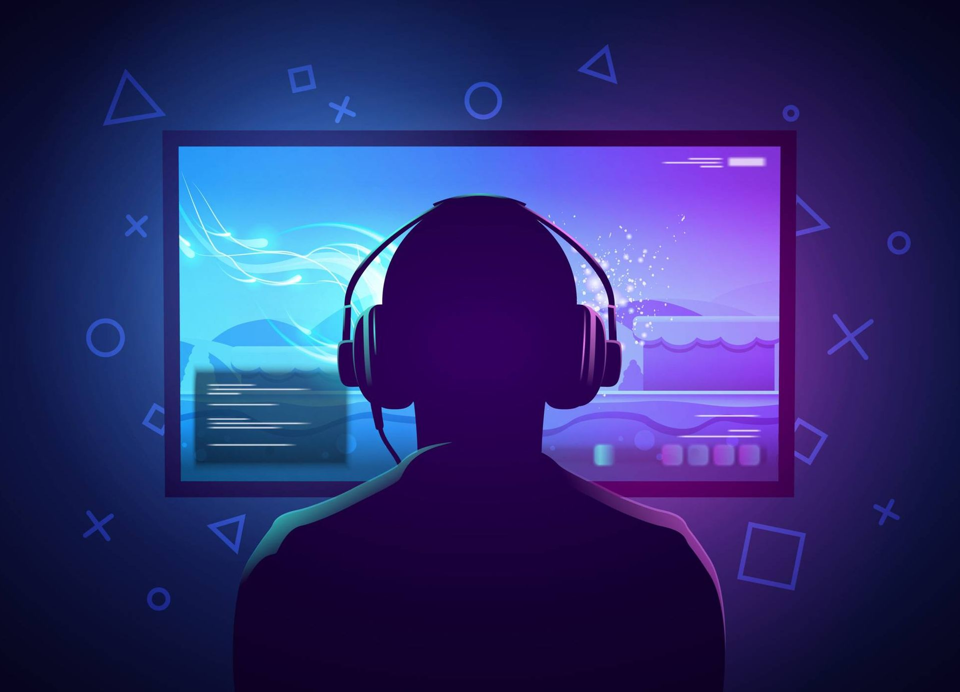 Illustration of video game player sitting in front of a screen, wearing headphones