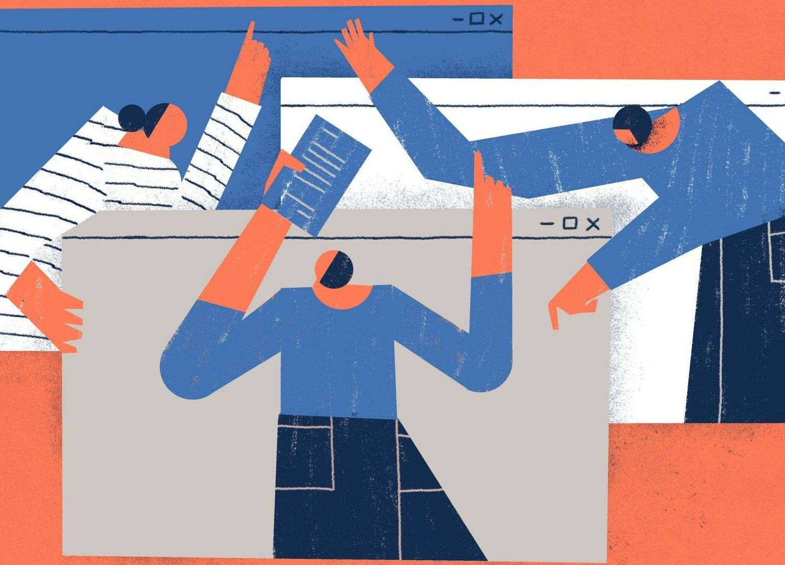 Illustration of remote workers interacting with each other virtually over video calls