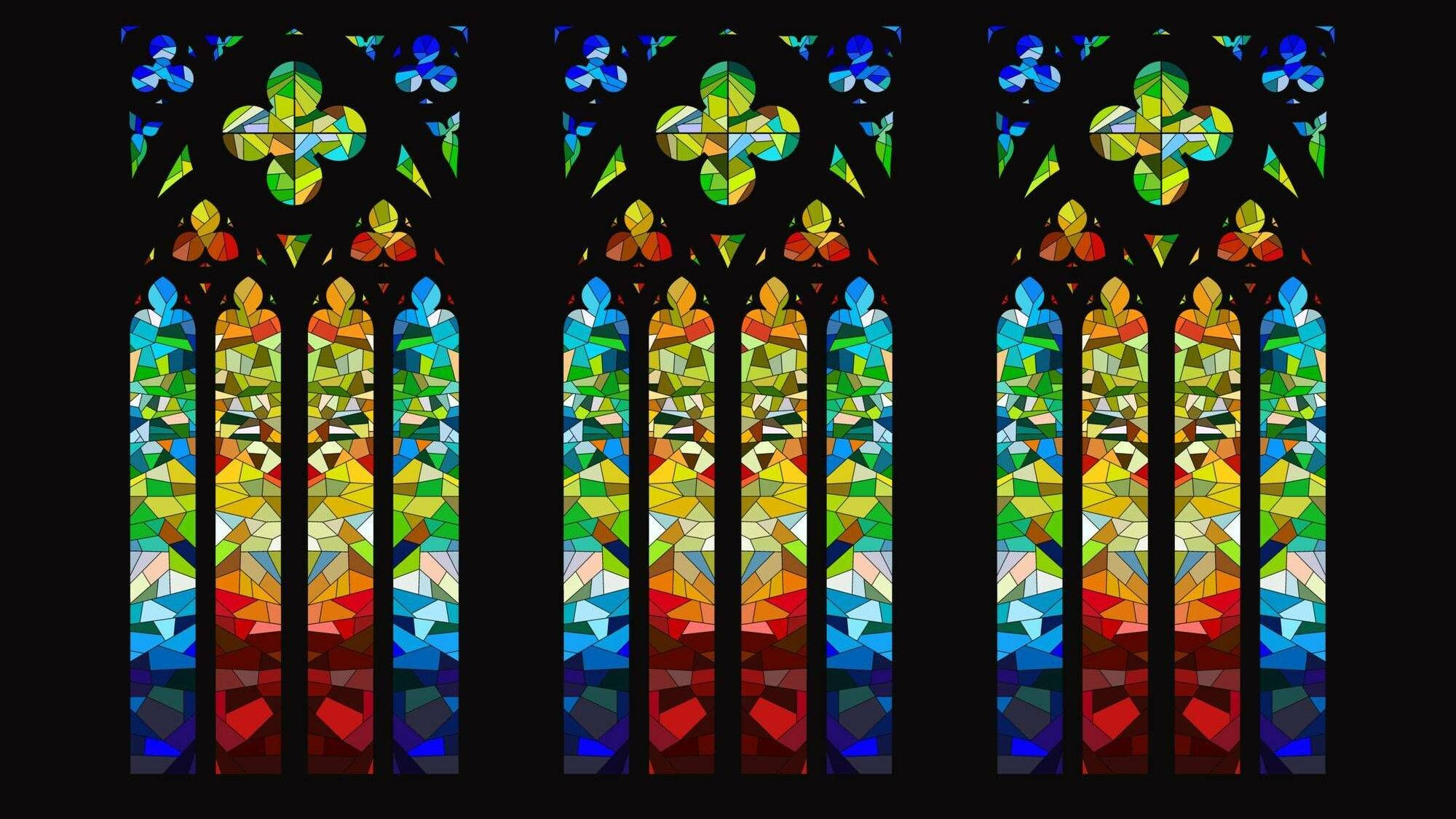 Illustration of three colorful stained glass windows in a church, the black church, pbs, rewire