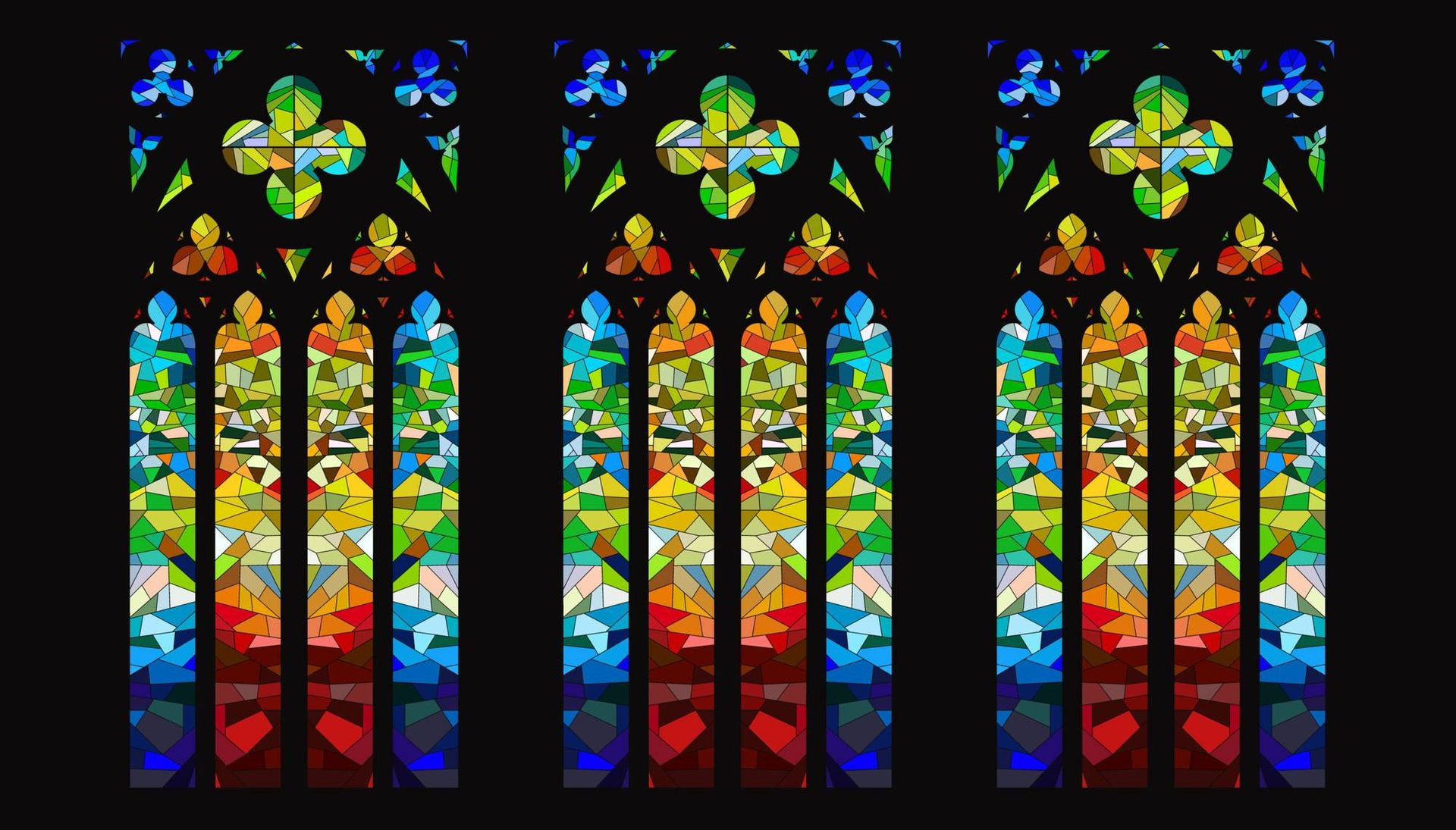 Illustration of three colorful stained glass windows in a church