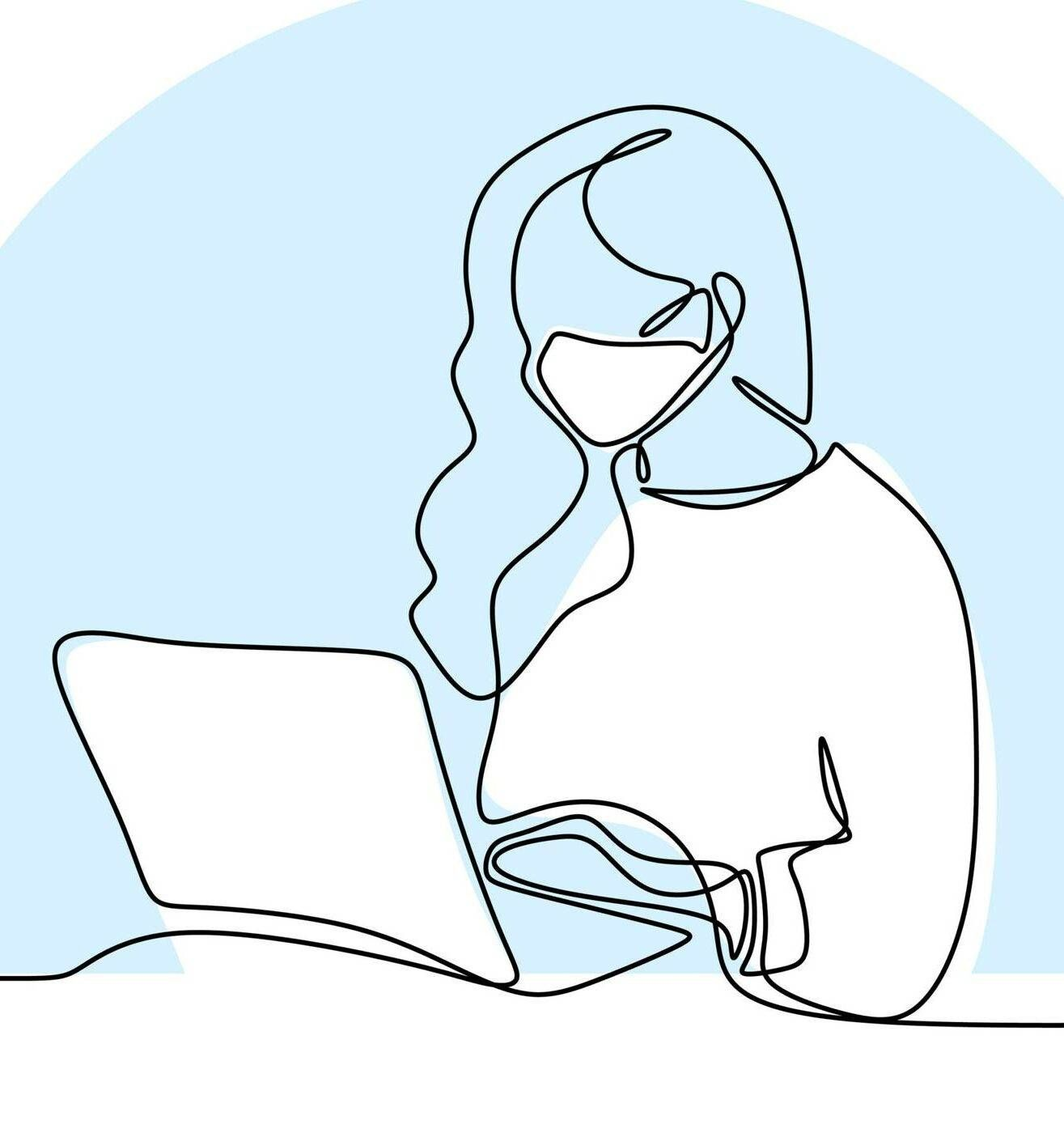 Illustration of young woman with mask on looking at an open laptop screen, college grads, Rewire, young job seekers