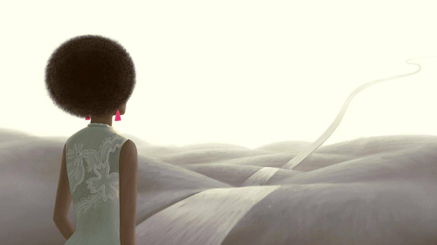 Illustration of black woman looking out a surreal landscape with a path rising into the sky, black youth, religious paths