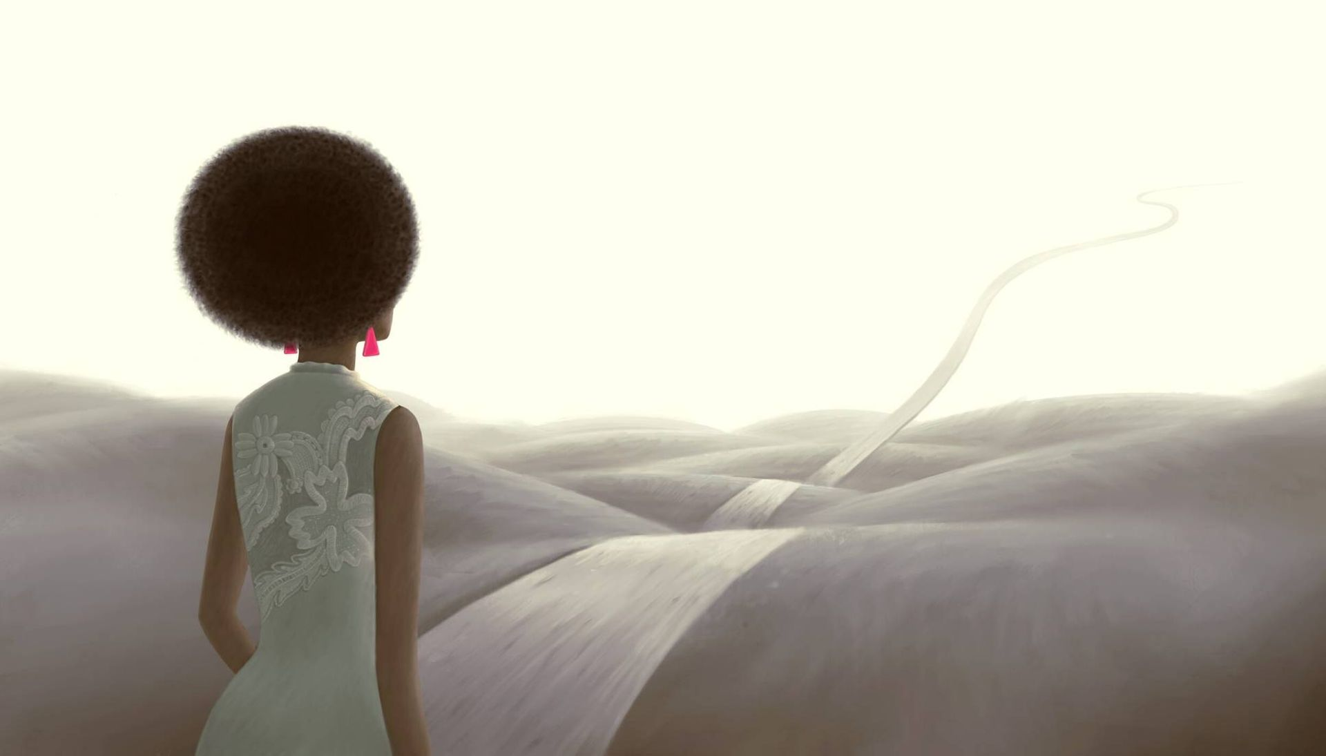 Illustration of black woman looking out a surreal landscape with a path rising into the sky