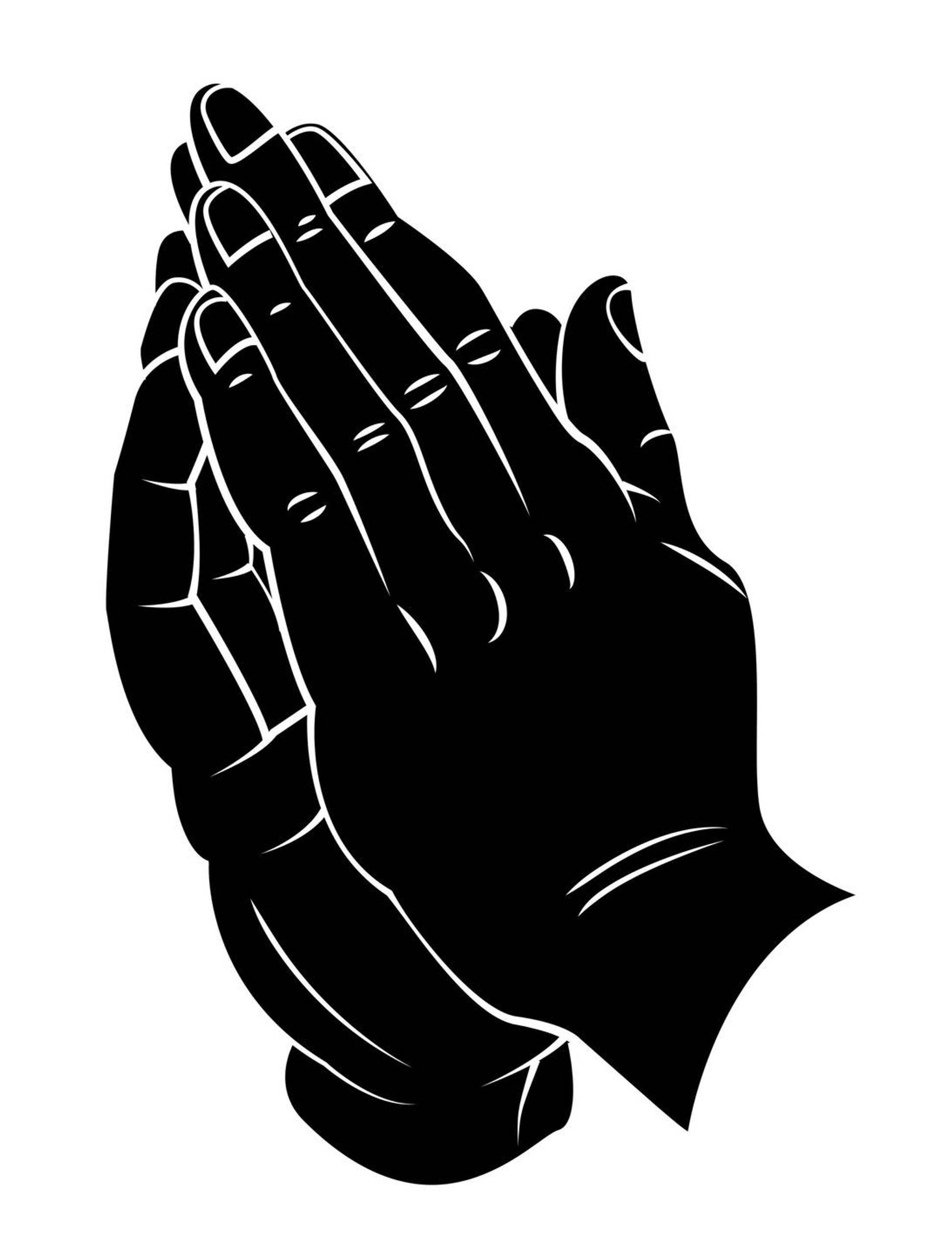 Illustration of black hands held together in prayer