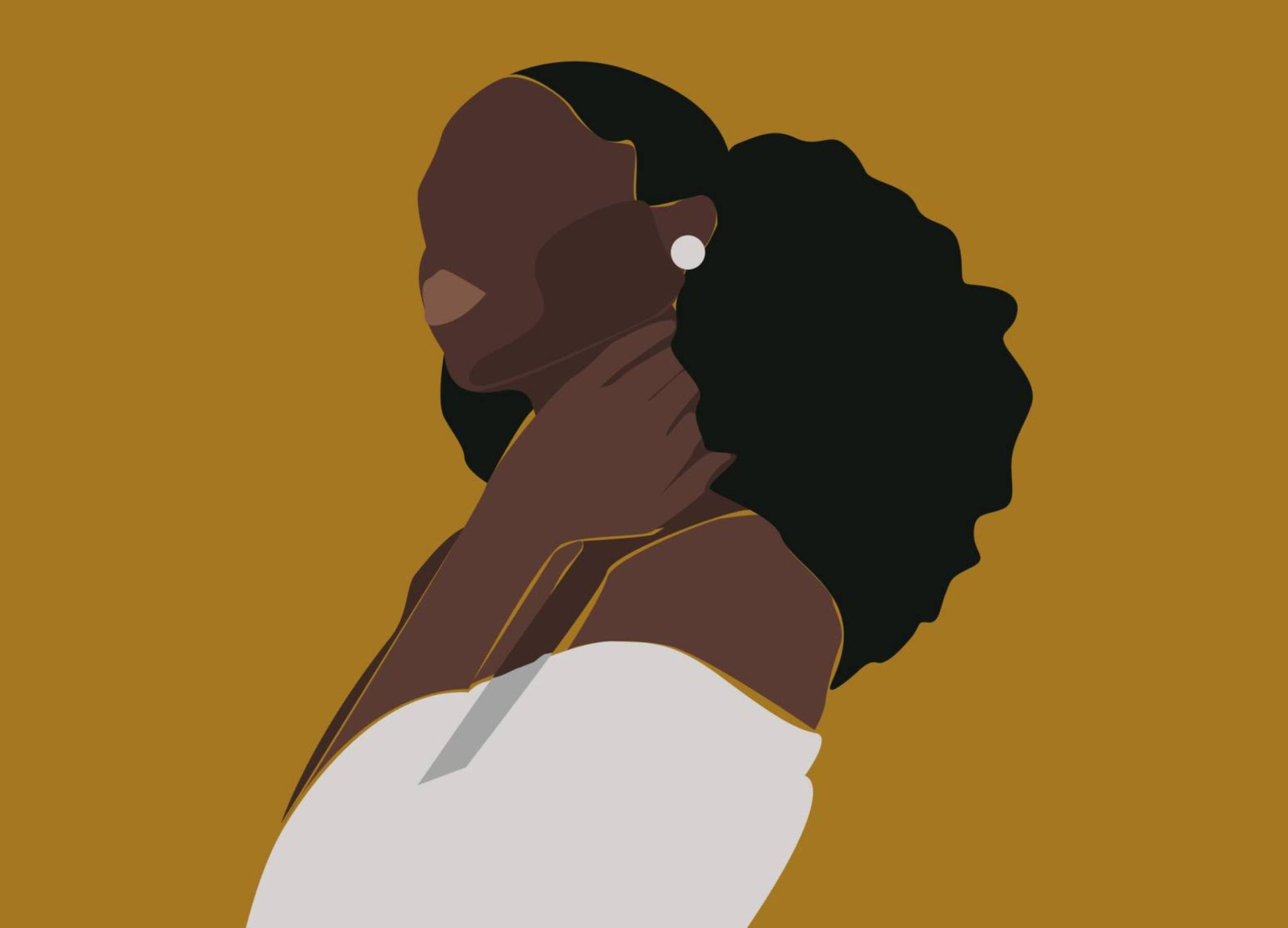 Illustration of Black woman in white blouse with white earrings on