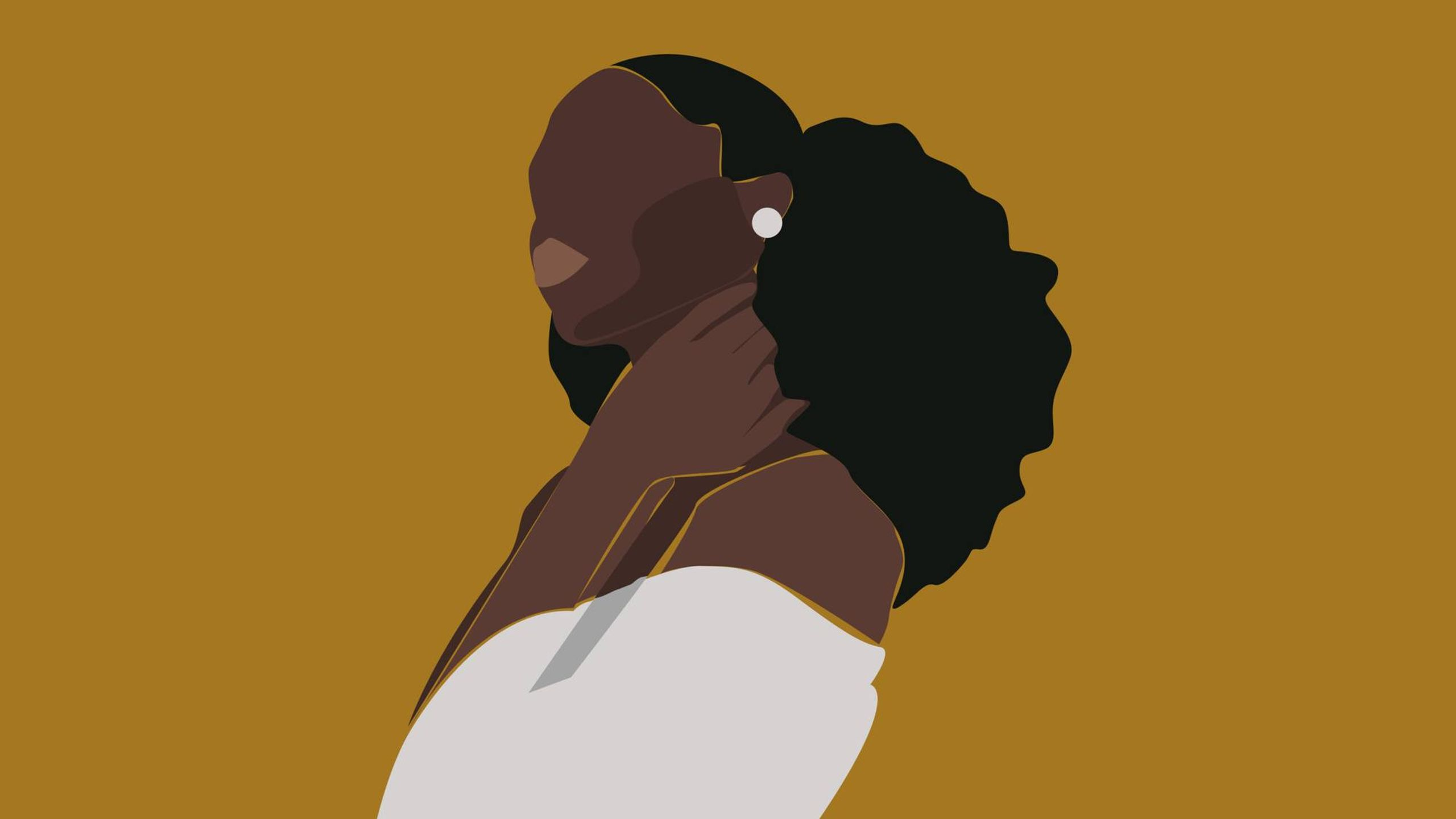 Illustration of Black woman in white blouse with white earrings on, dating with illness, Rewire