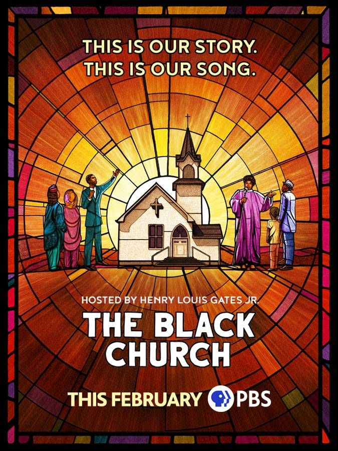 Promotion poster for The Black Church documentary showing a stained glass window with a church and people