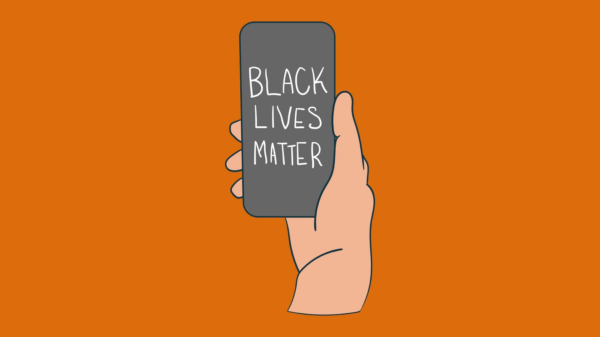 a hand holding a phone. rewire pbs our future performative activism