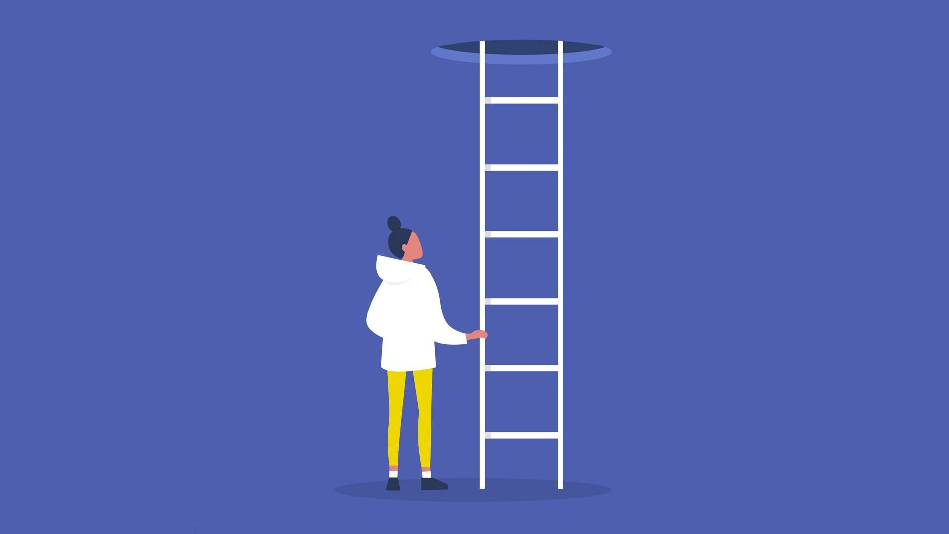 a woman looks at a ladder. rewire pbs our future student debt cancellation